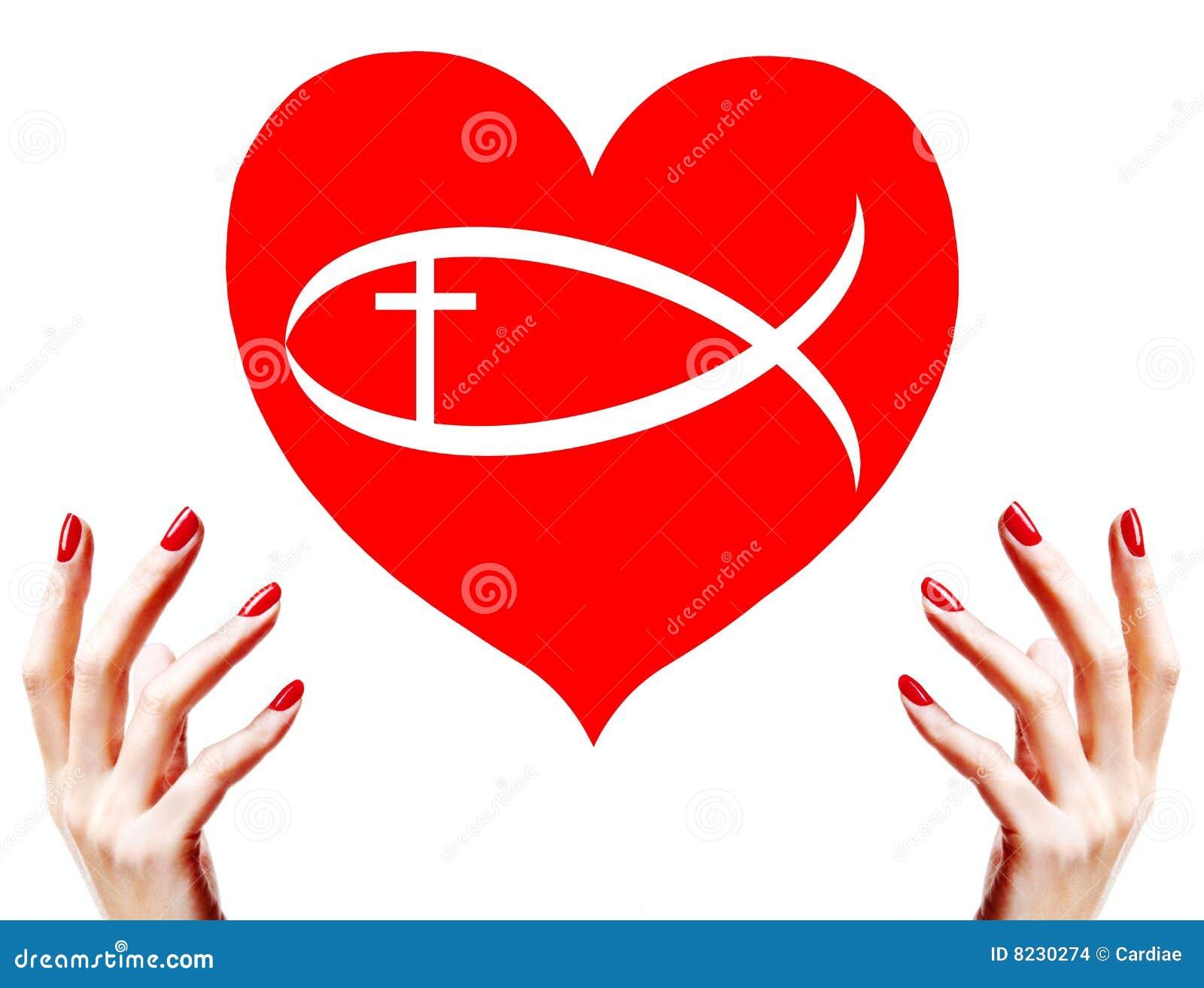 Christian Love Red Heart Sign Symbol Stock Illustrations 110