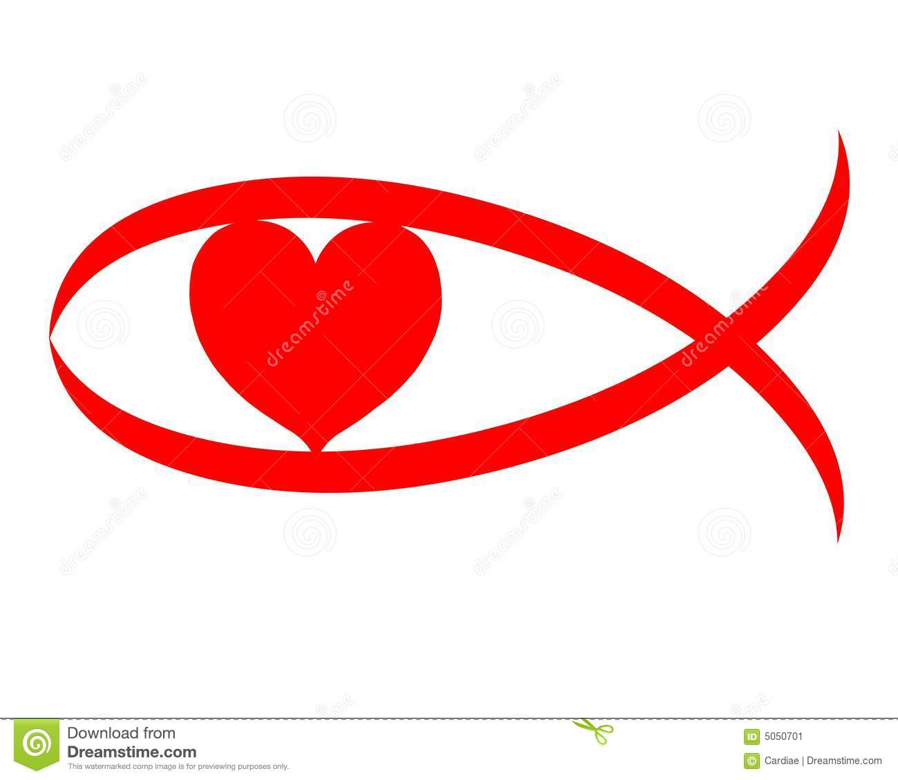 Christian love red heart sign symbol on white background - isolated.