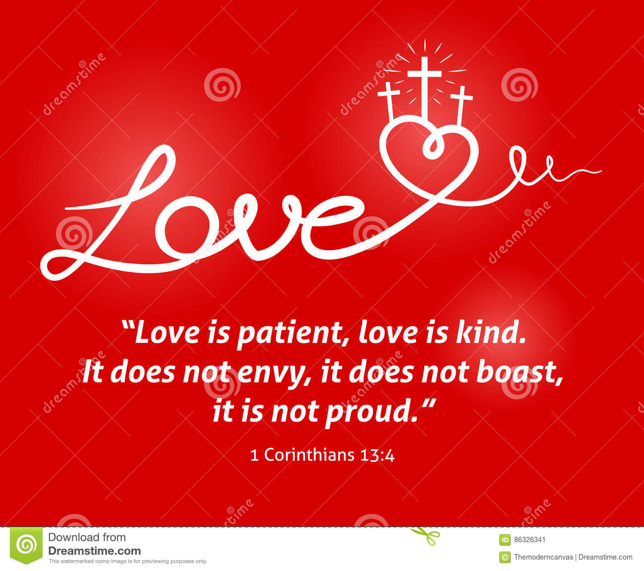Christian Love Scripture With Heart And Cross On Red Background ...
