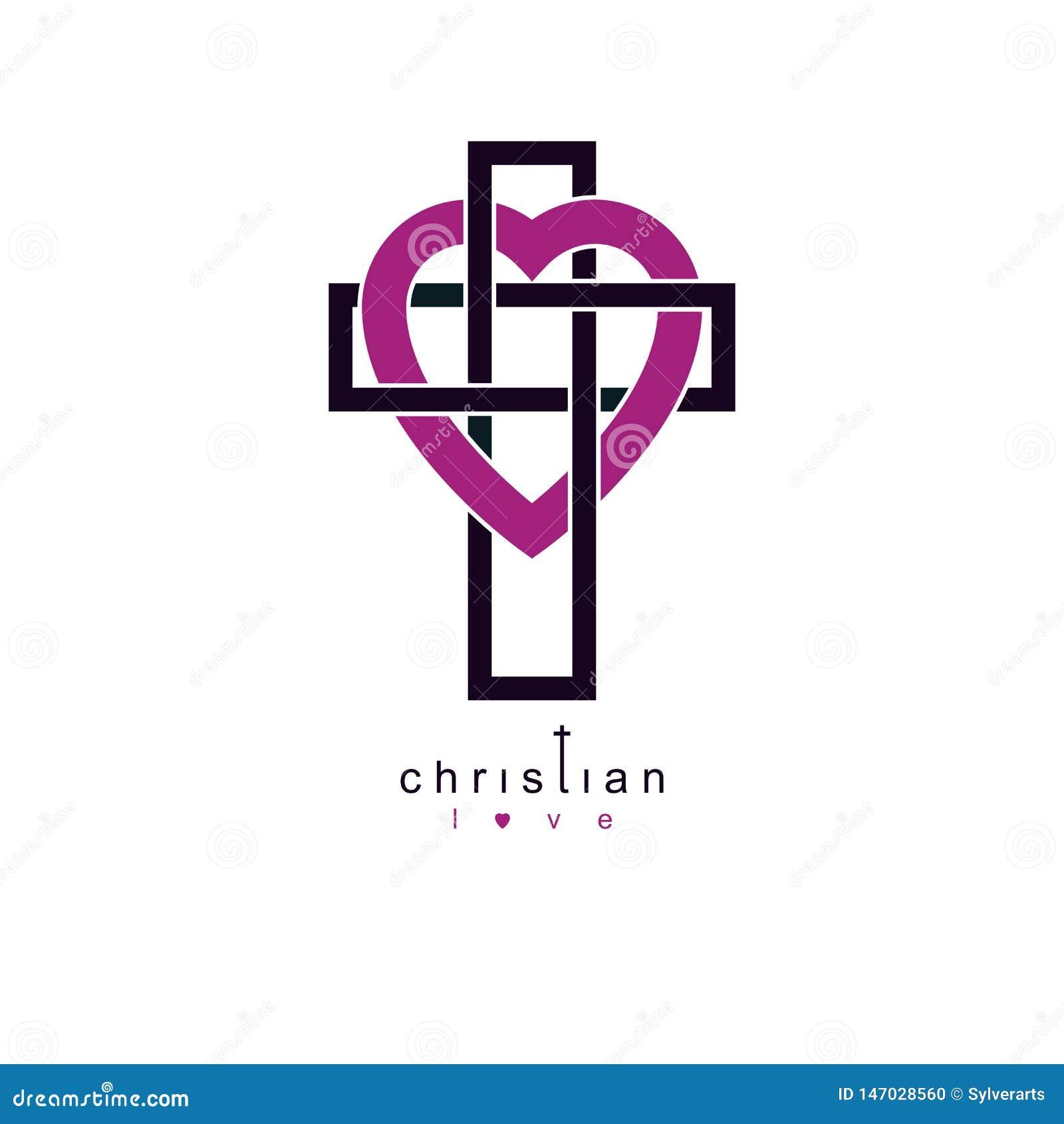 Christian Love y creencia verdadera en el diseño creativo del símbolo del vector de dios, combinado con Christian Cross y el cora