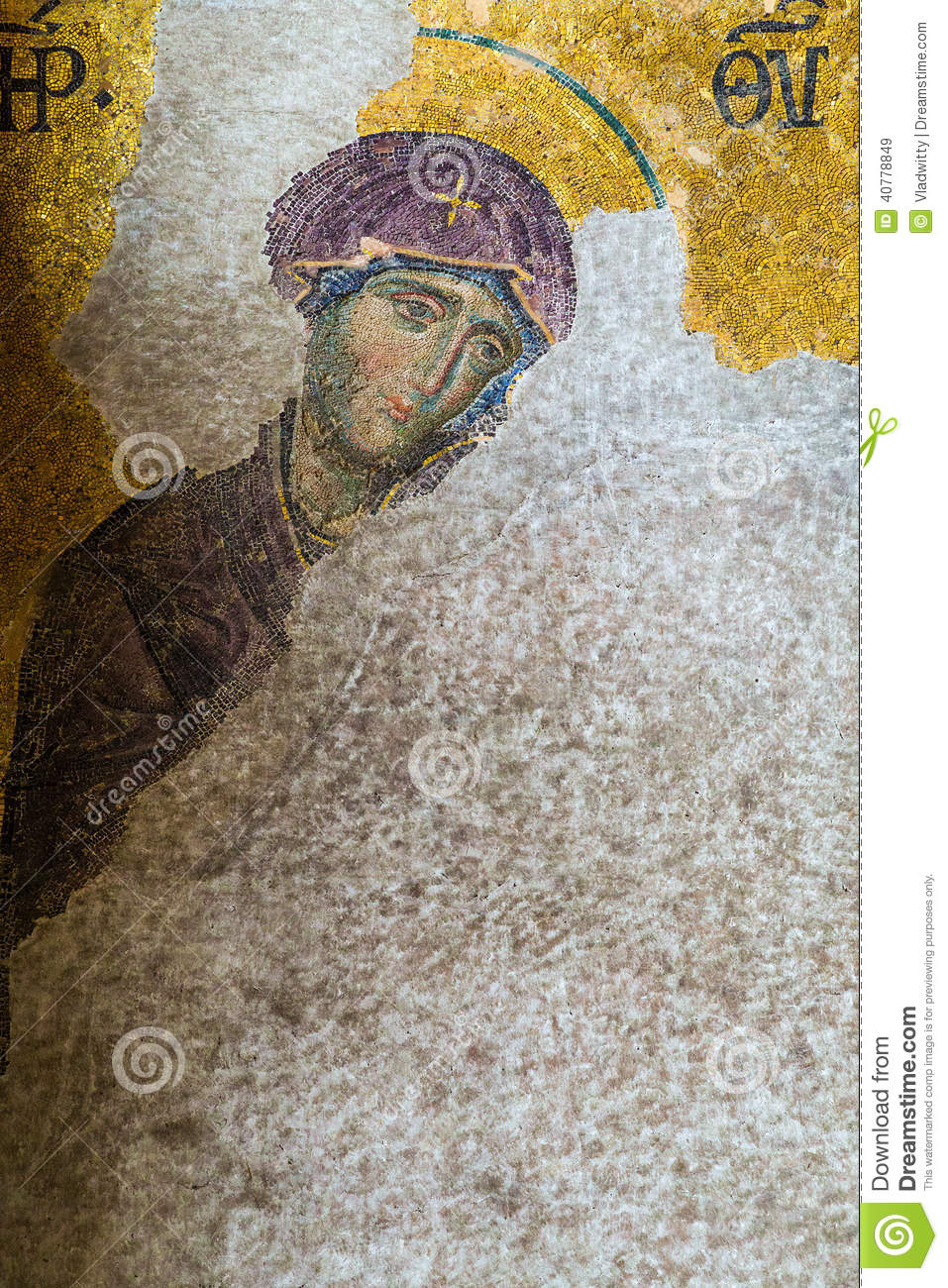 Christian mosaic icon in Cathedral mosque Hagia Sofia