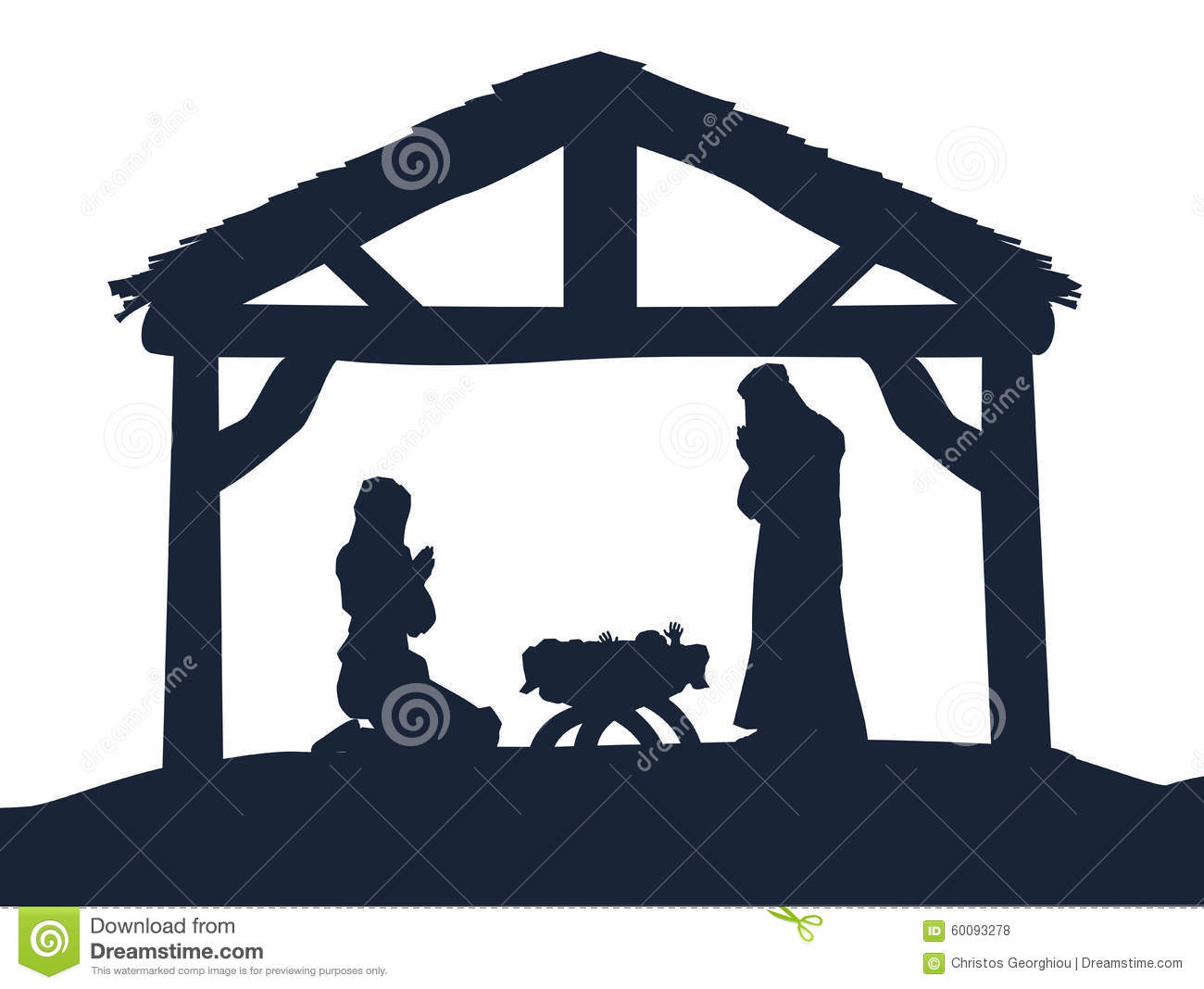 ... Scene of baby Jesus in the manger with Mary and Joseph in silhouette