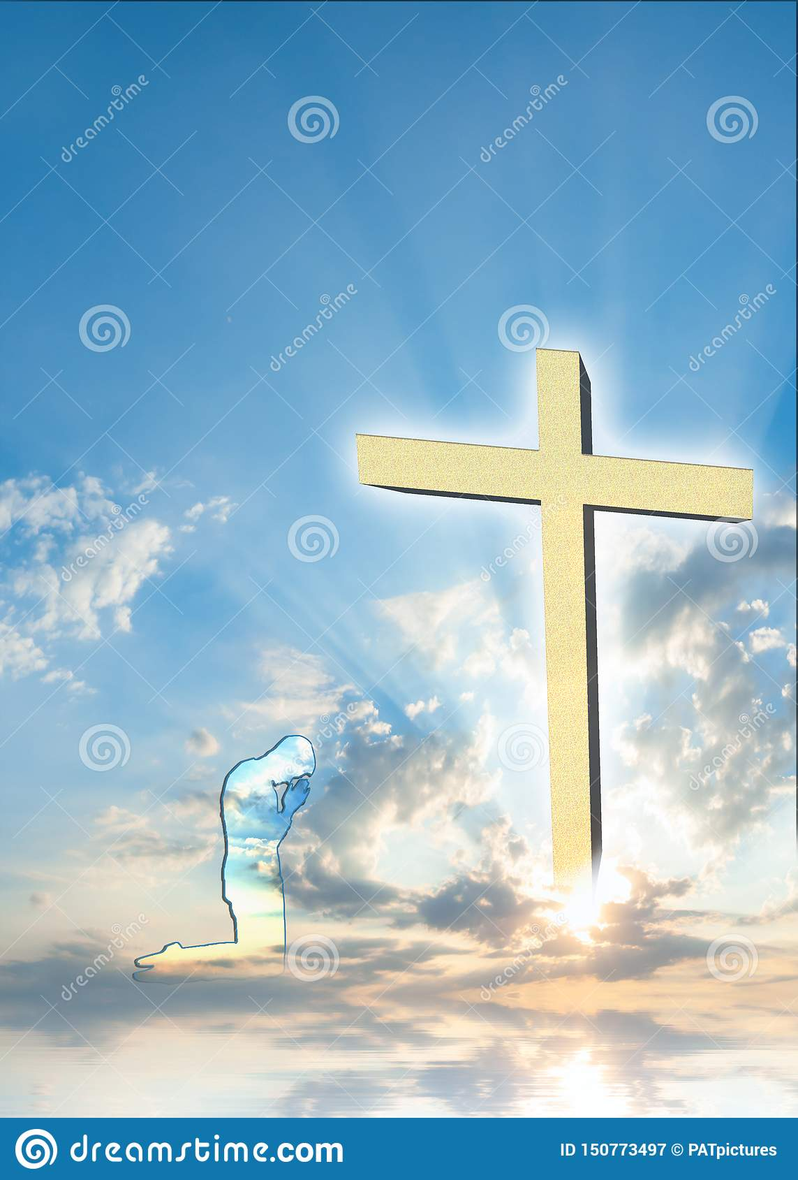 Christian Poster Background with praying man