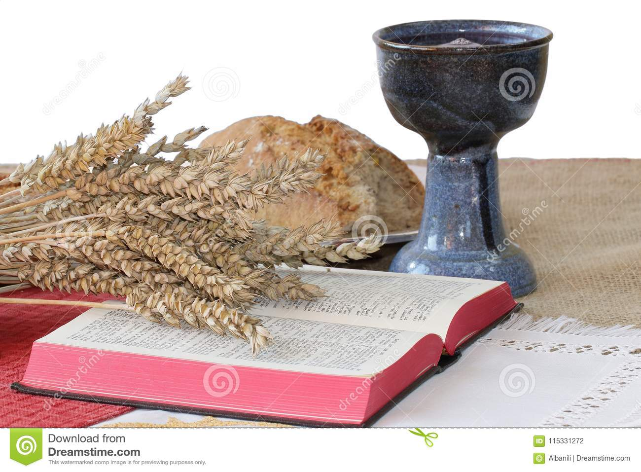 Silver Chalice Bible Bread On White Background Stock Photo Image