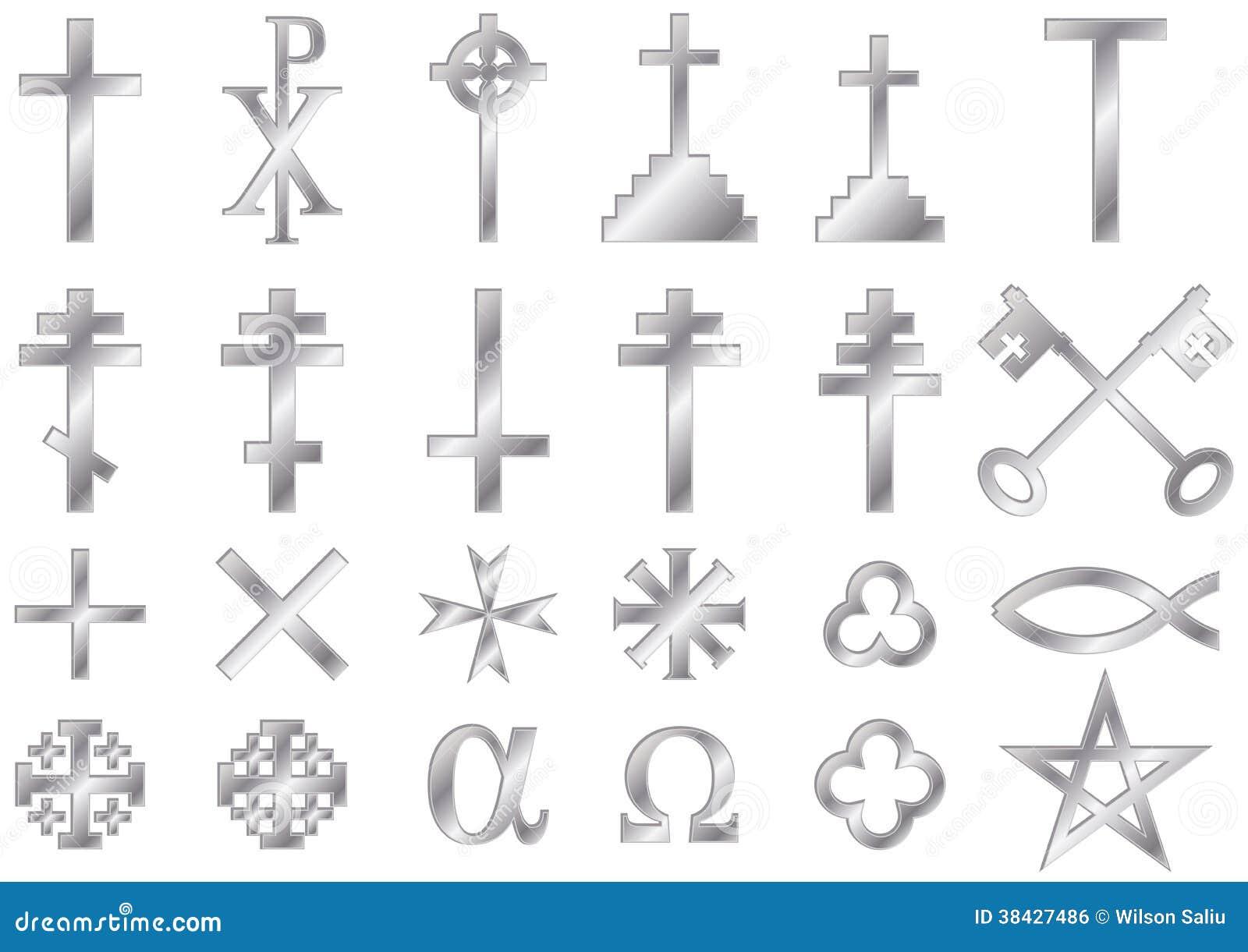 Christian Religious Symbols Silver Stock Illustration Illustration