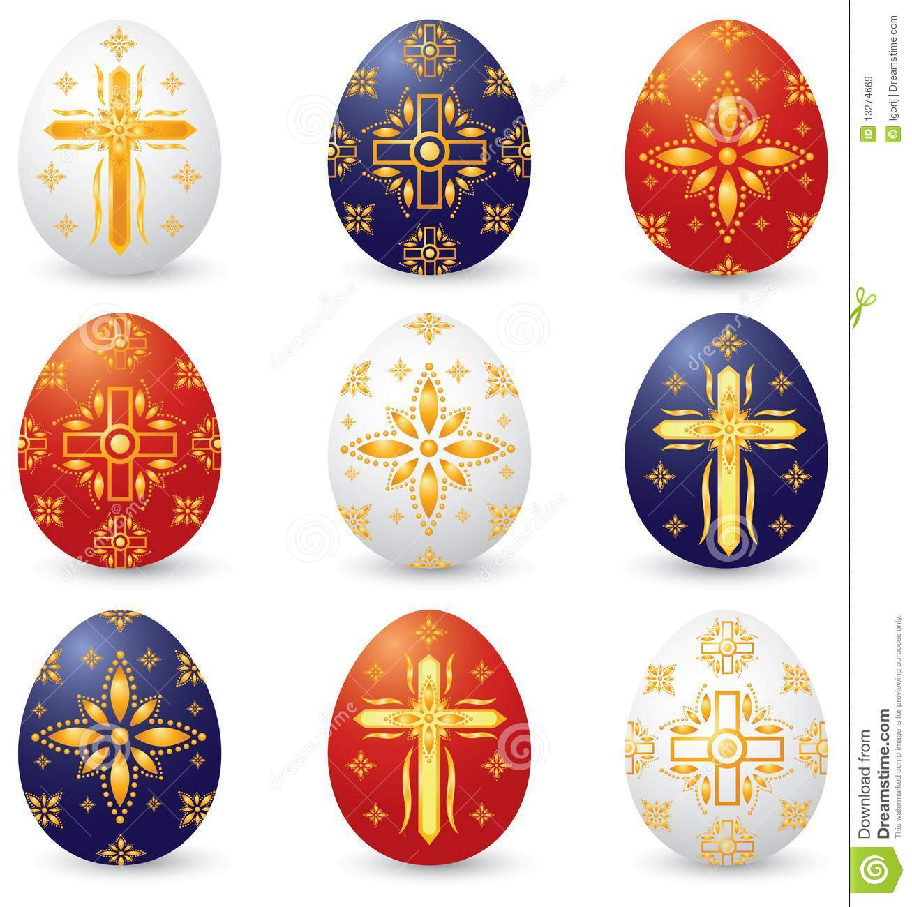 Easter Eggs With Christian Symbols Stock Illustration Illustration