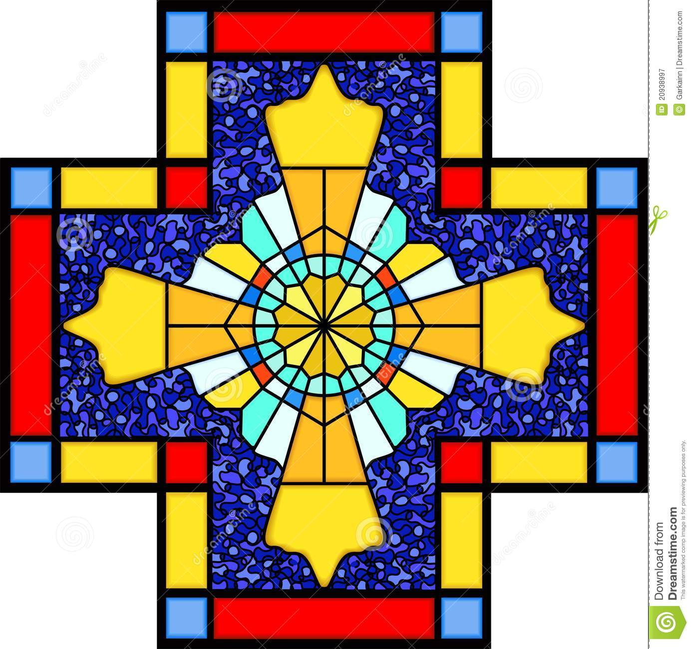Christian Symbol In Stained Glass Stock Vector