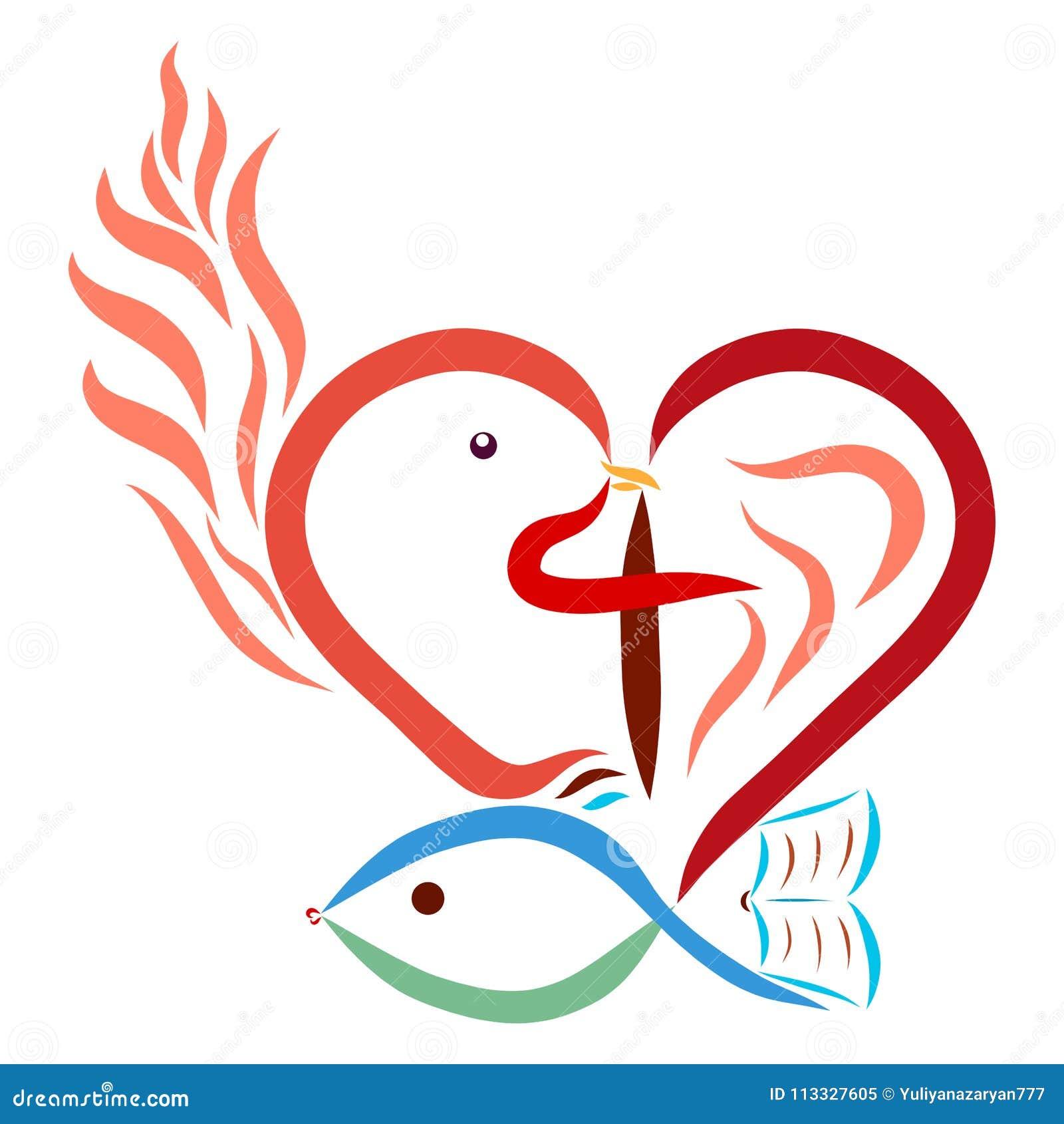 Christian Symbolism Heart Cross Dove Fish Flame Bible Stock ...
