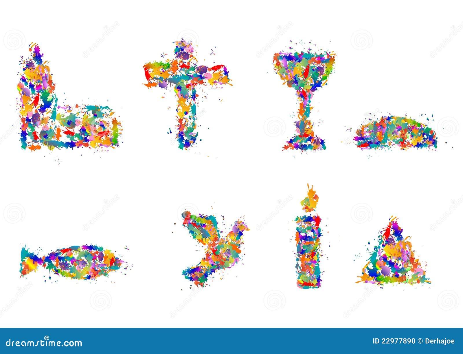 Christian symbols from splashes of color, dab - Symbol Set.