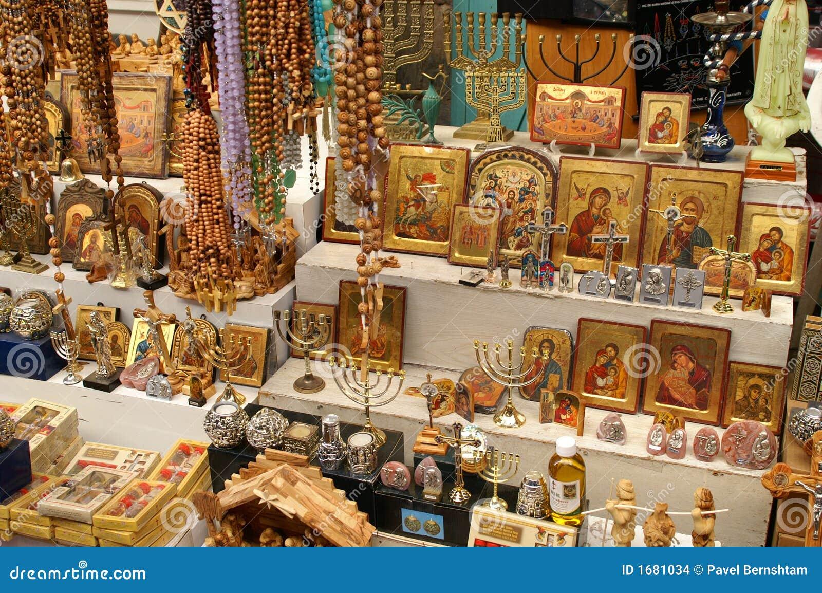 Christian Symbols In The Jerusalem East Market Stock Photo