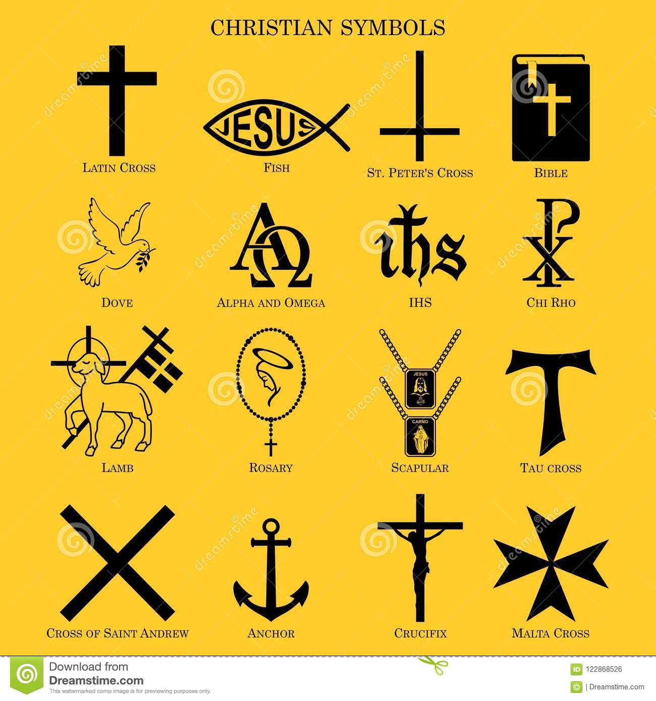 Christian Symbols Multiple Symbols Of Cristianity Stock Vector