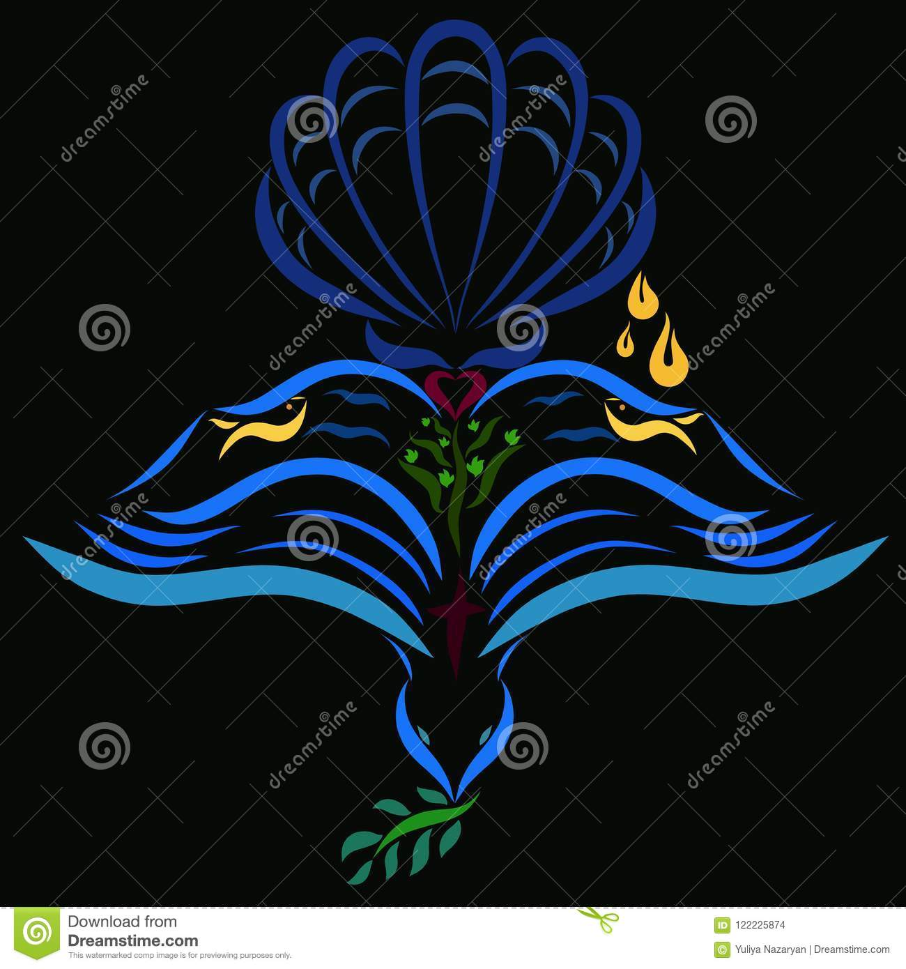 Christian Symbols Pattern On A Black Background The Bible And
