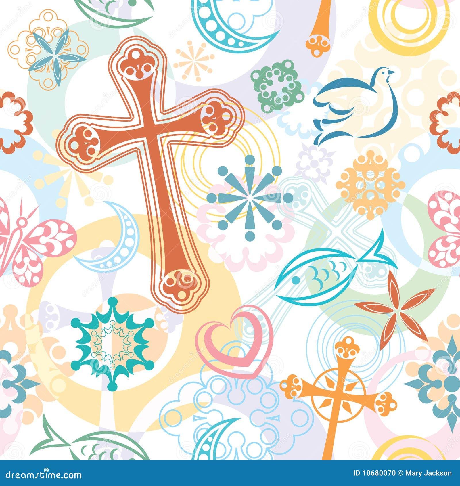 Christian Symbols Seamless Pattern