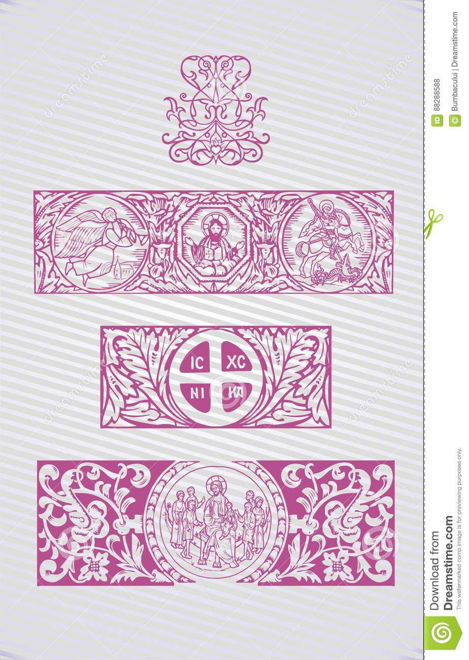 Christian Religious Symbols Vector Illustrations With Crosses And