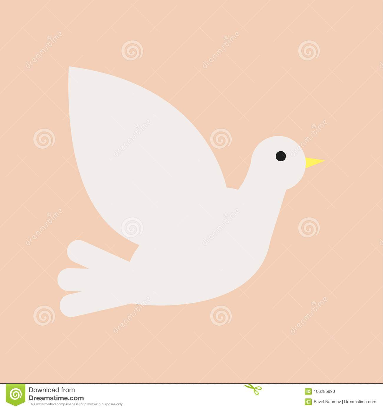 Christian white dove. Symbol of Holy Spirit and peace. Isolated flat vector icon. Design element for church, christian
