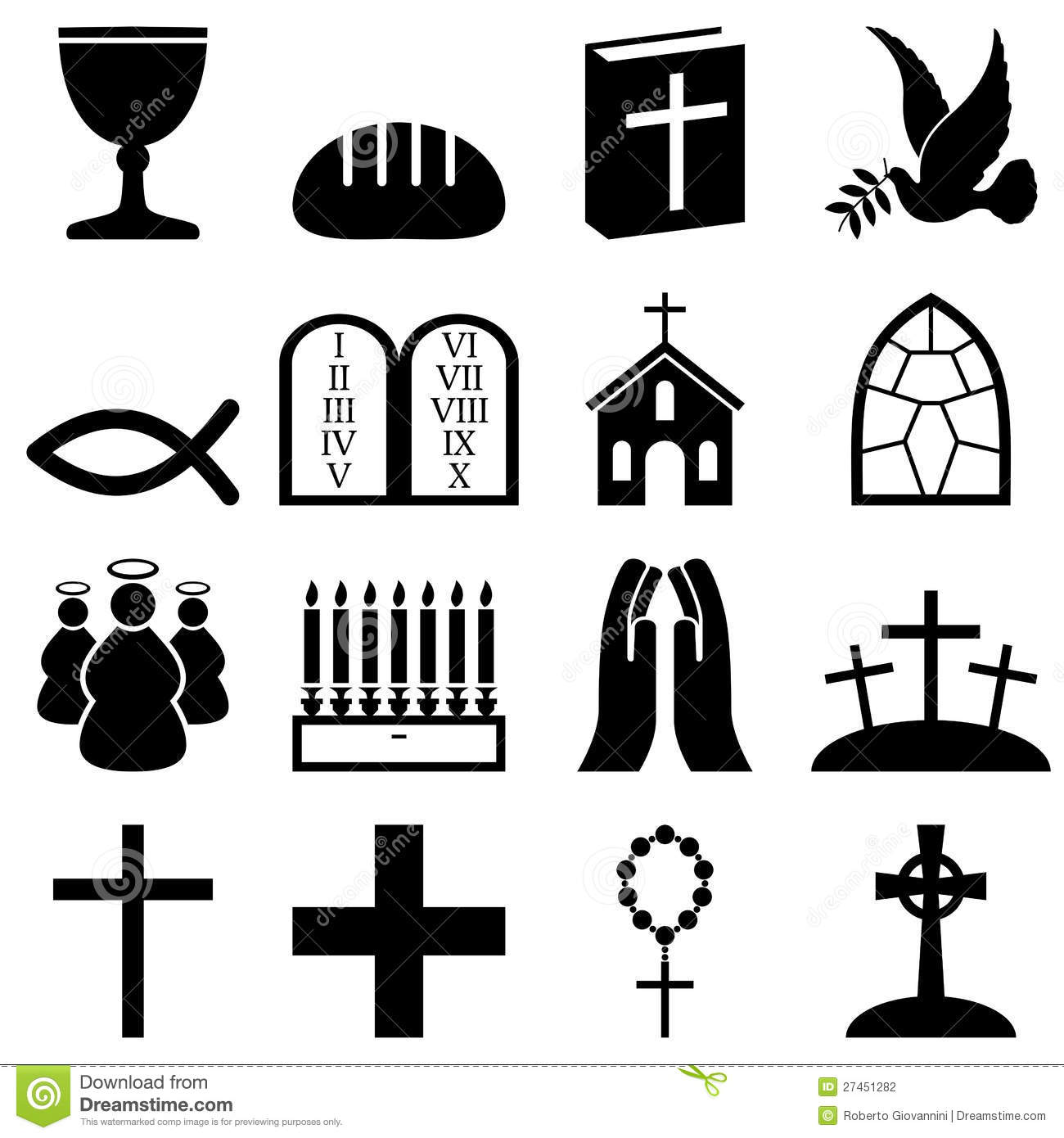 Christianity Black White Icons Illustration 27451282 Megapixl