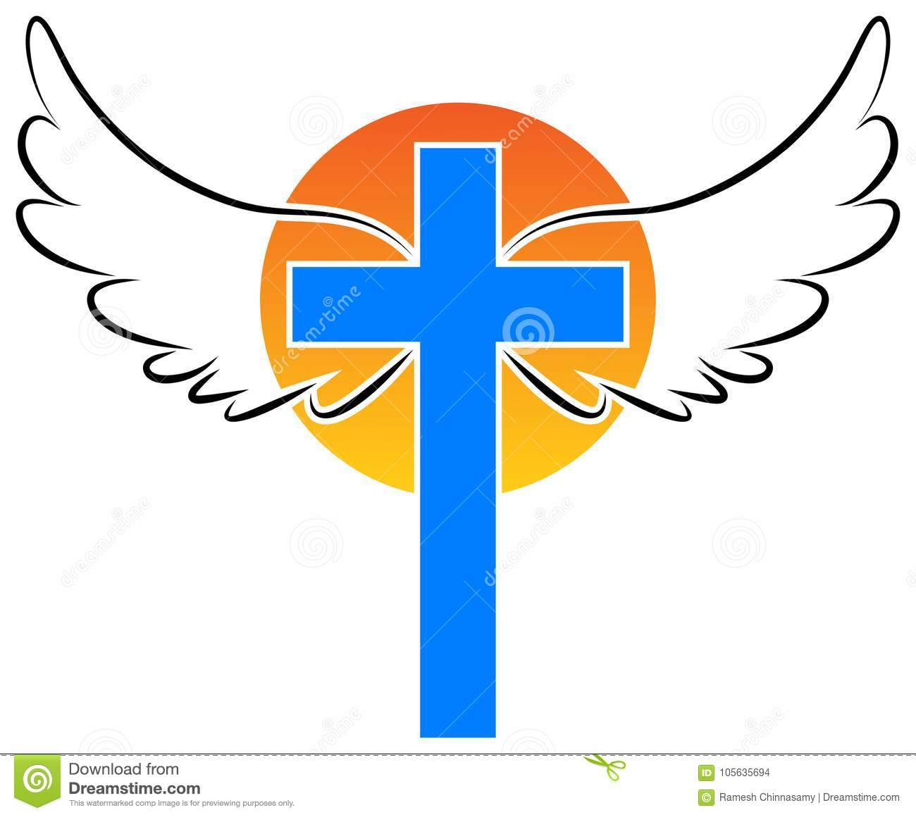 Christianity Cross With Angel Wings Stock Vector Illustration Of