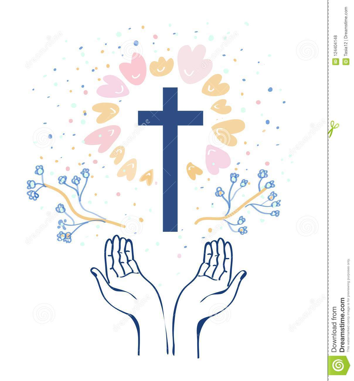 Christianity religion background with hands or prayer and cross, flowers around. Vector illustration