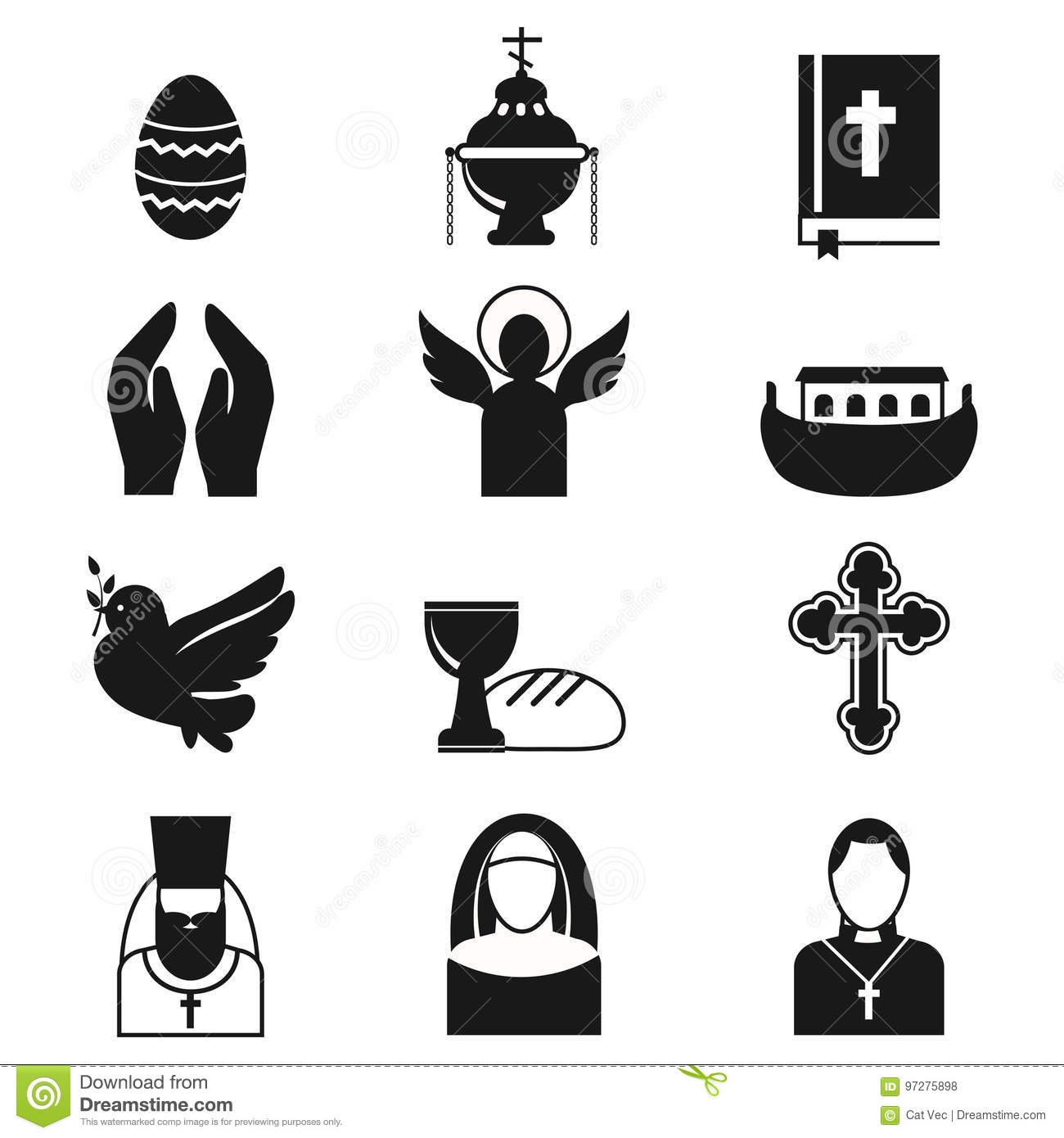 christianity religion flat icons vector illustration of traditional