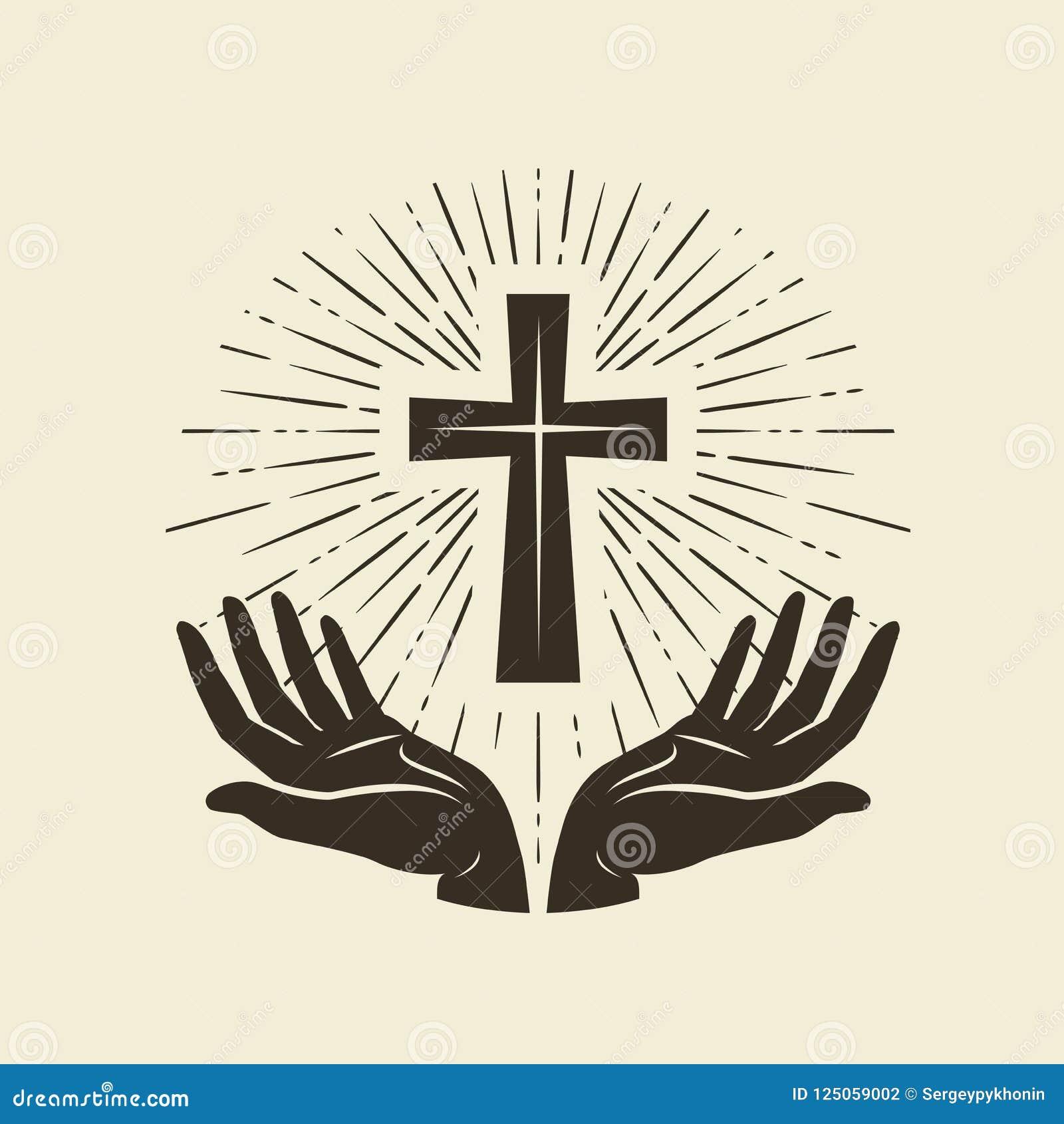 Christianity Symbol Of Jesus Christ Cross Worship Logo Vintage