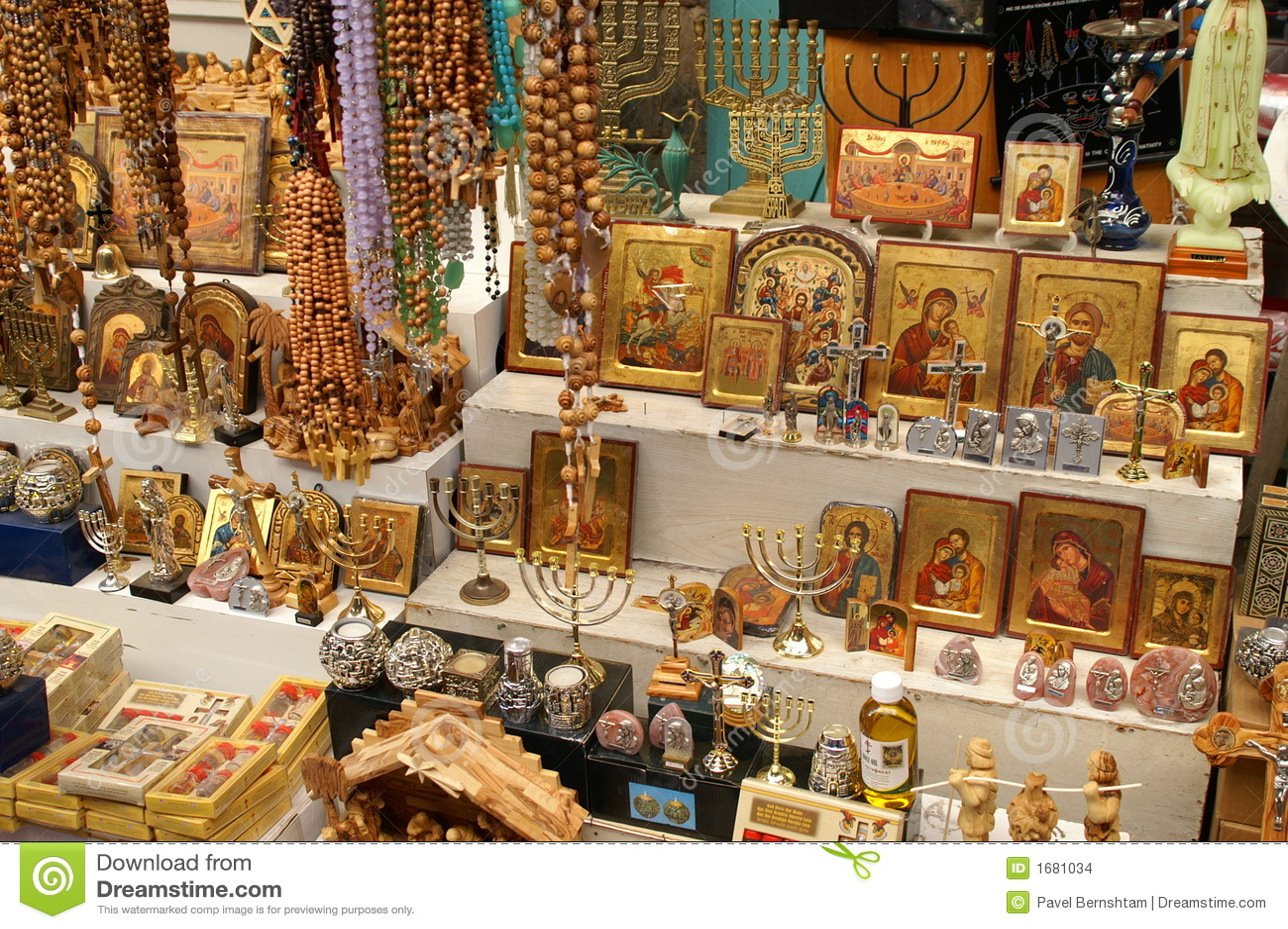 Christliche Symbole Im Jerusalem Ostmarkt Stockbilder