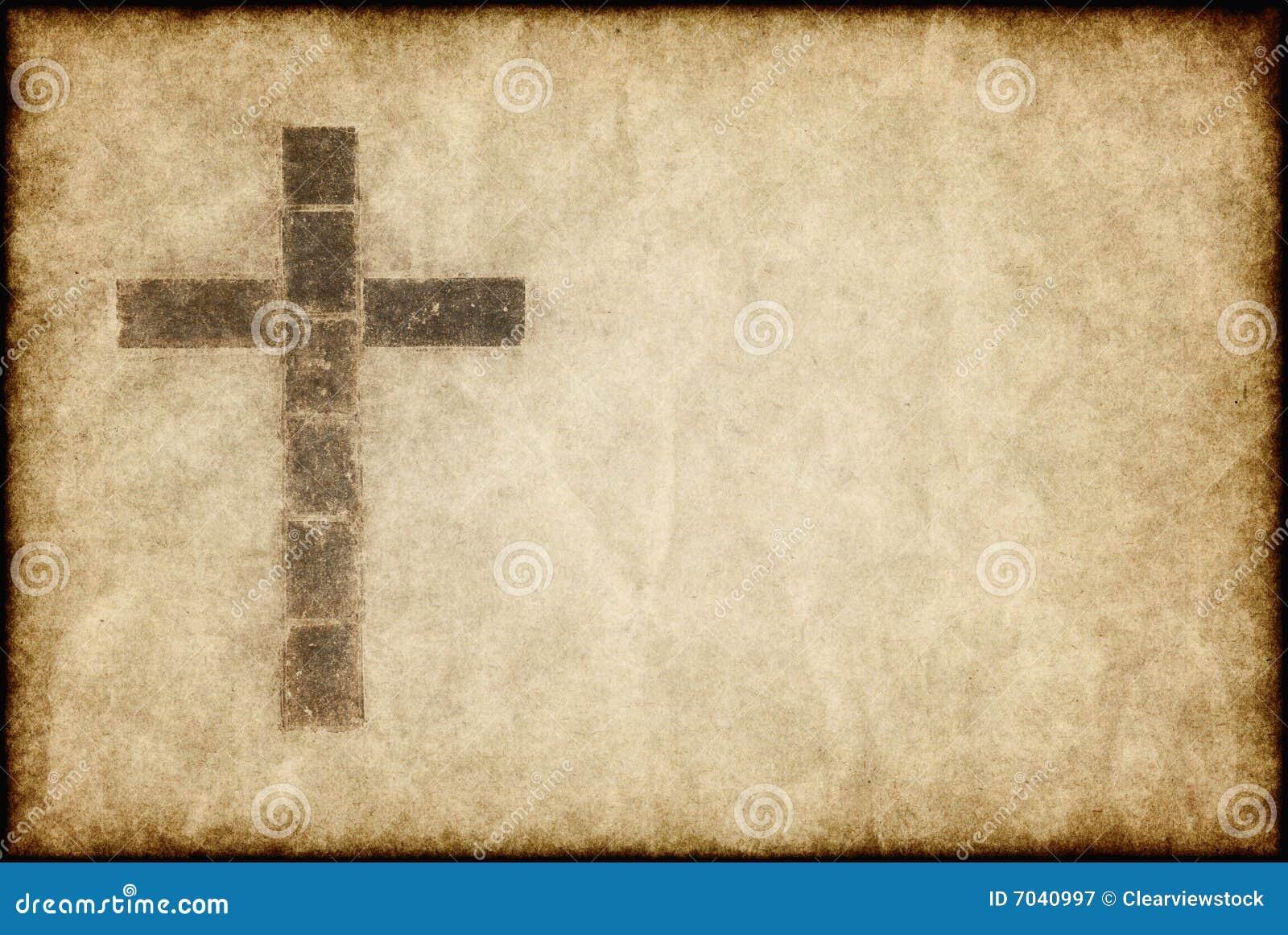 Christliches Kreuz auf Pergament