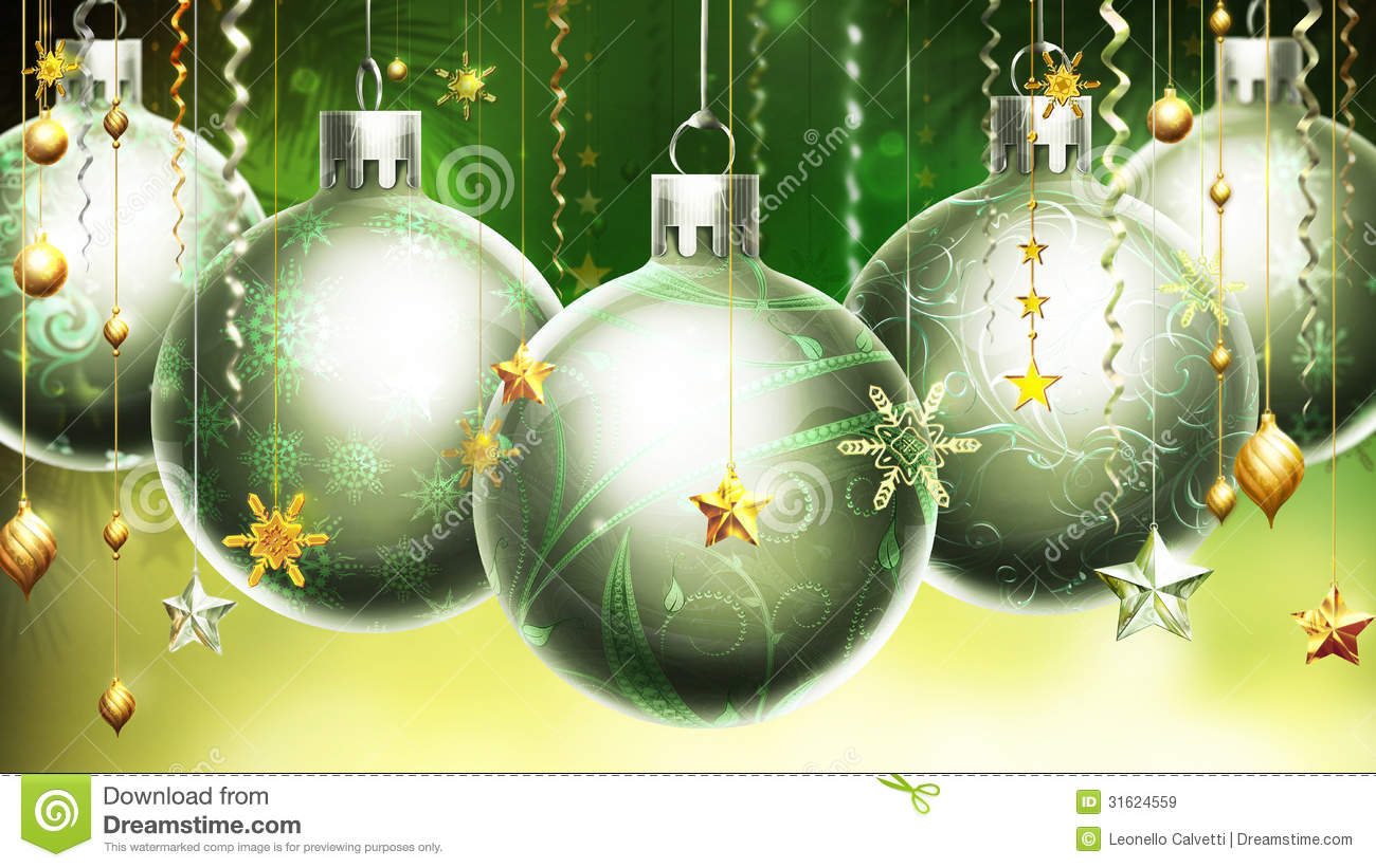 Christmas Abstract Green/yellow Background With Big Silver ...