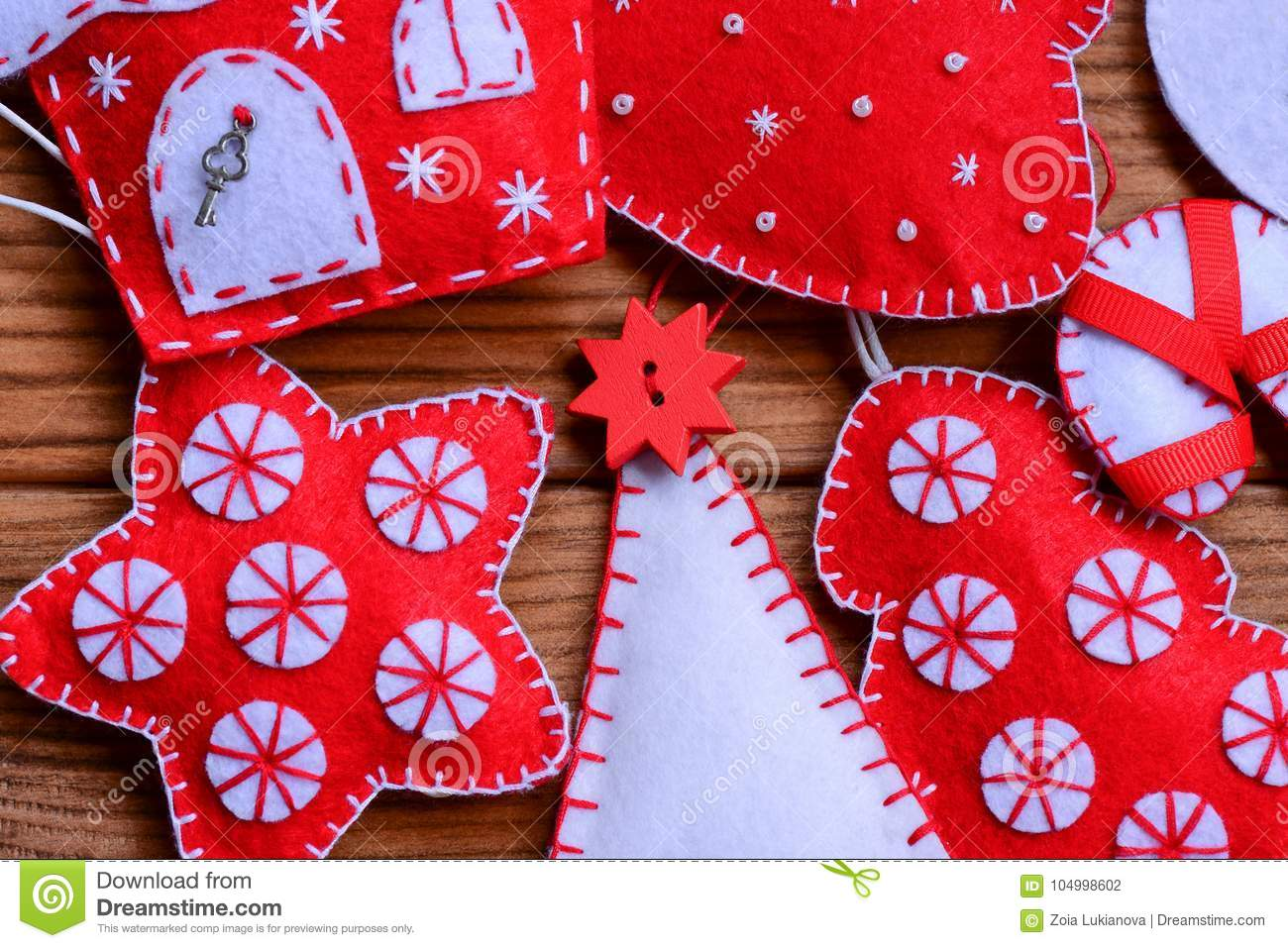 Easy Christmas Crafts To Sell.Felt Christmas Decor On A Wooden Background Felt Christmas