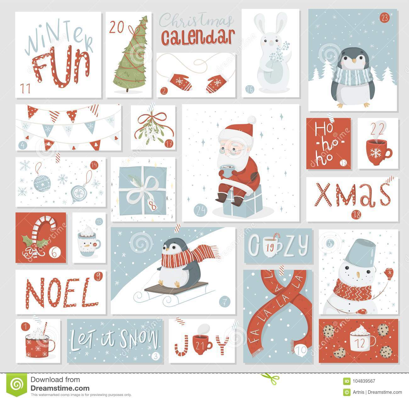 photo relating to Printable Christmas Countdown Calendar named Xmas Arrival Calendar, Lovely Hand Drawn Style and design. Inventory