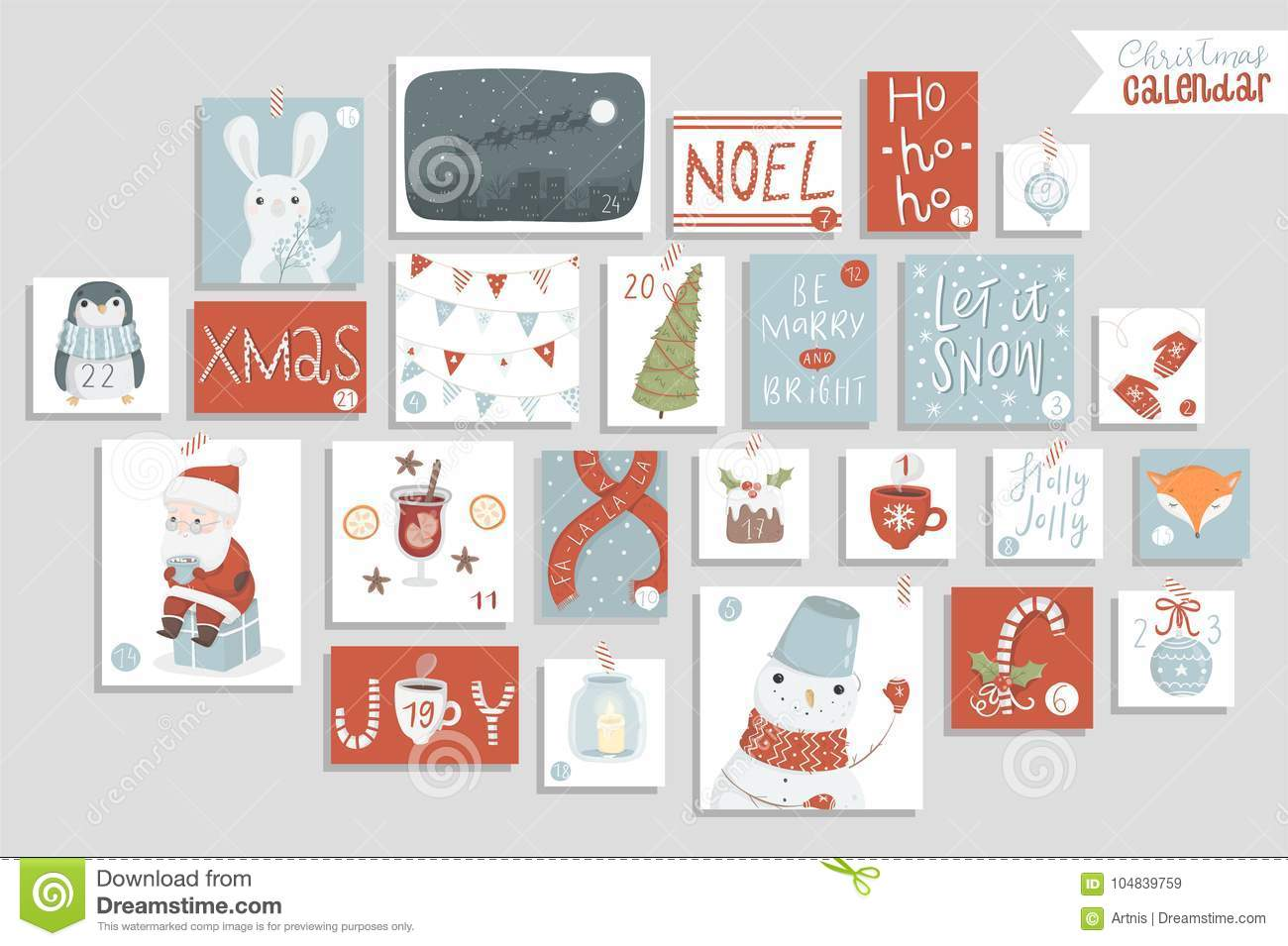photograph relating to Printable Christmas Calendar known as Xmas Arrival Calendar, Adorable Hand Drawn Layout. Inventory