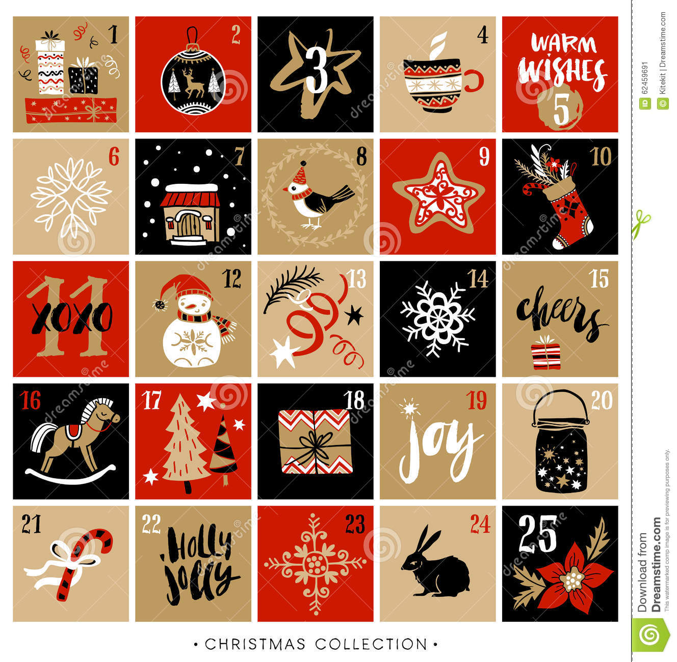 Typography Advent Calendar : Christmas advent calendar hand drawn design elements
