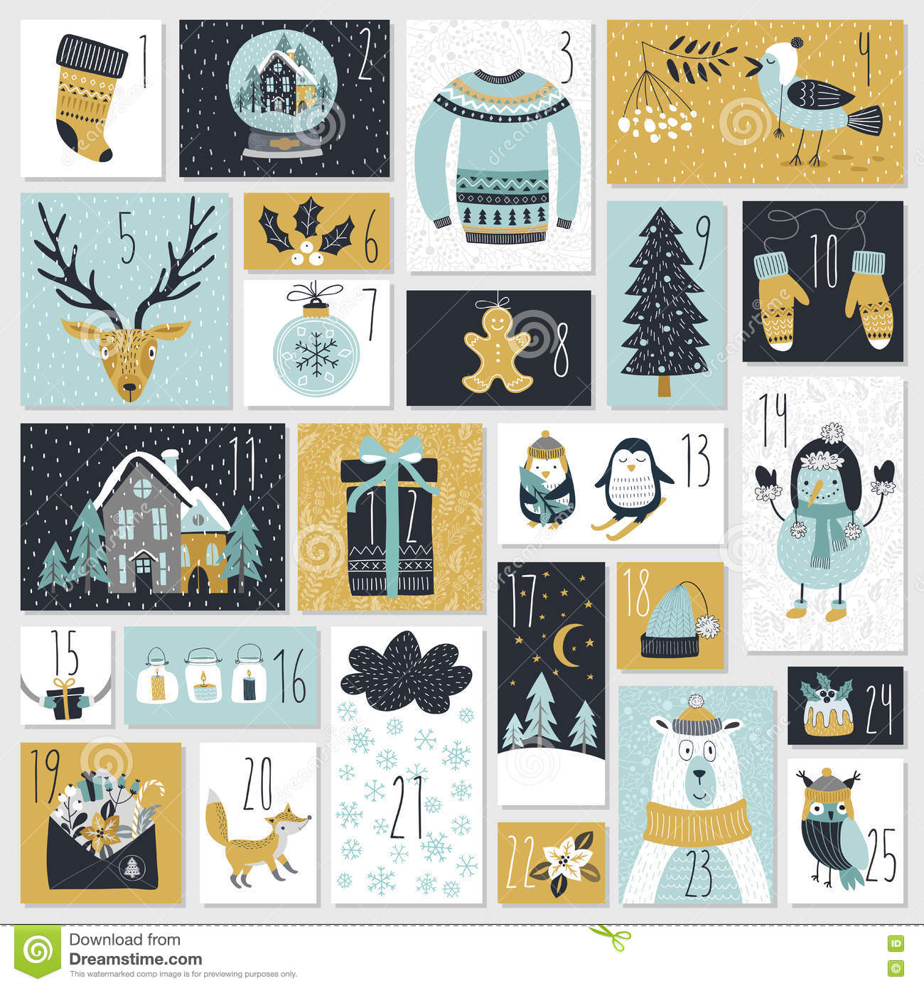 Christmas Calendar Illustration : Christmas advent calendar hand drawn style stock