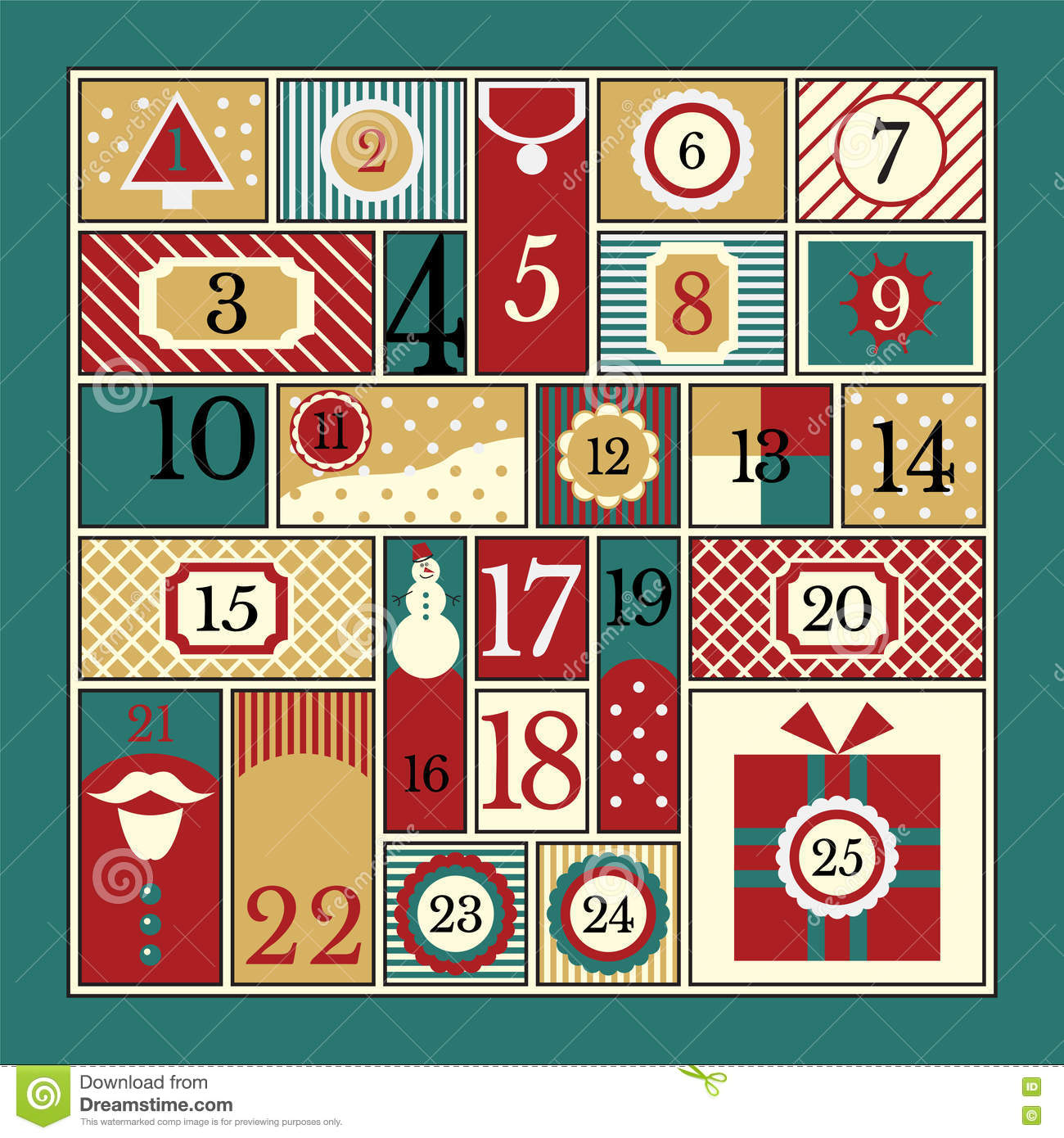 Christmas Calendar Illustration : Christmas advent calendar stock vector image of claus