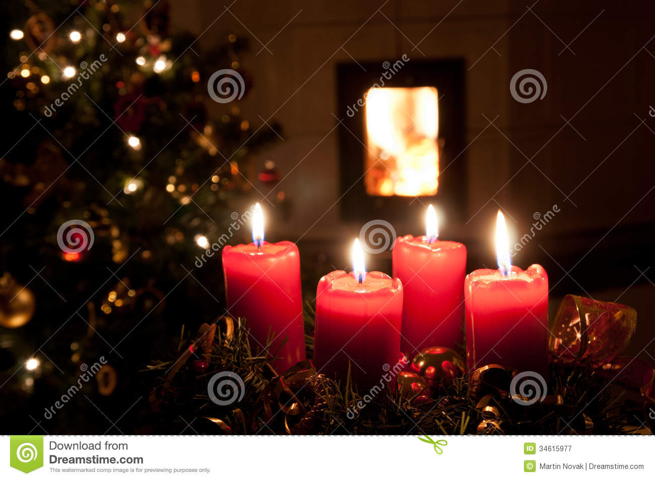 Christmas Advent Wreath With Burning Candles Royalty Free