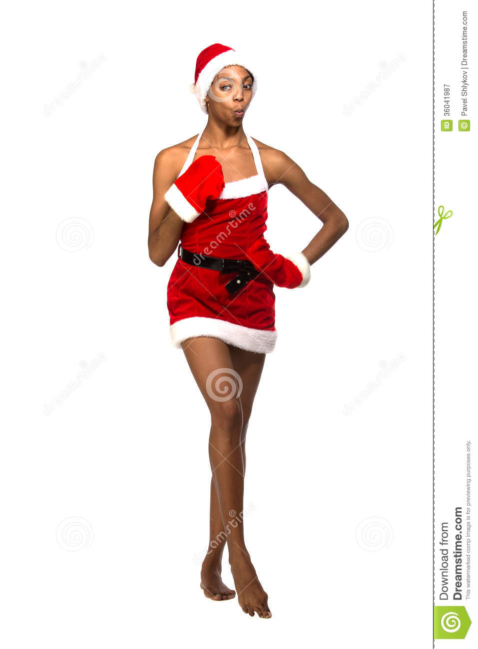 b0f6f354445f2 Christmas Afro American Woman Wearing A Santa Hat Smiling Stock ...