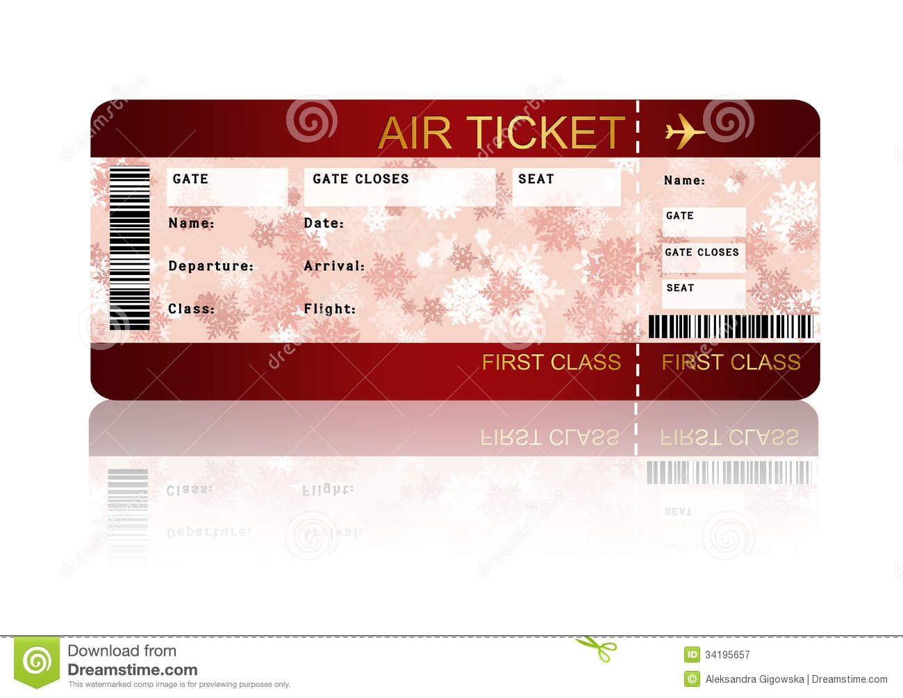 Christmas Airline Boarding Pass Ticket Isolated Over White  Print Tickets Free Template