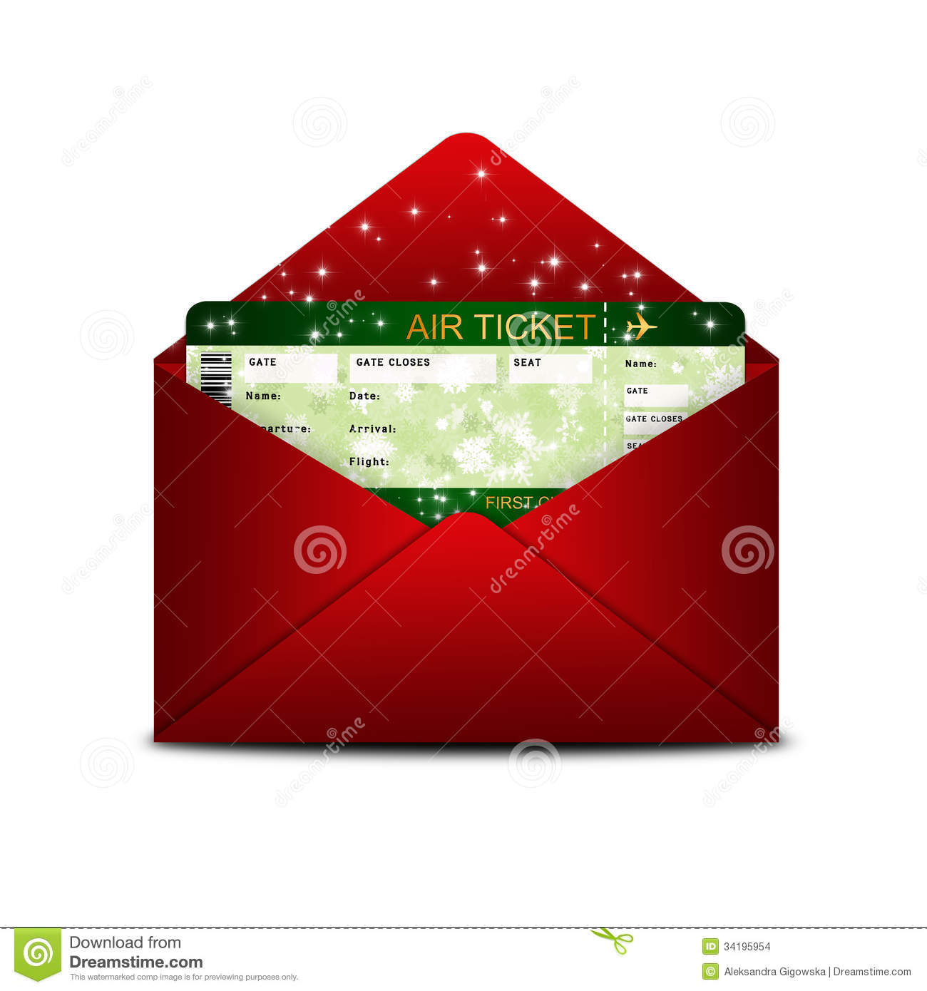 Christmas Airline Boarding Pass Ticket In Red Envelope