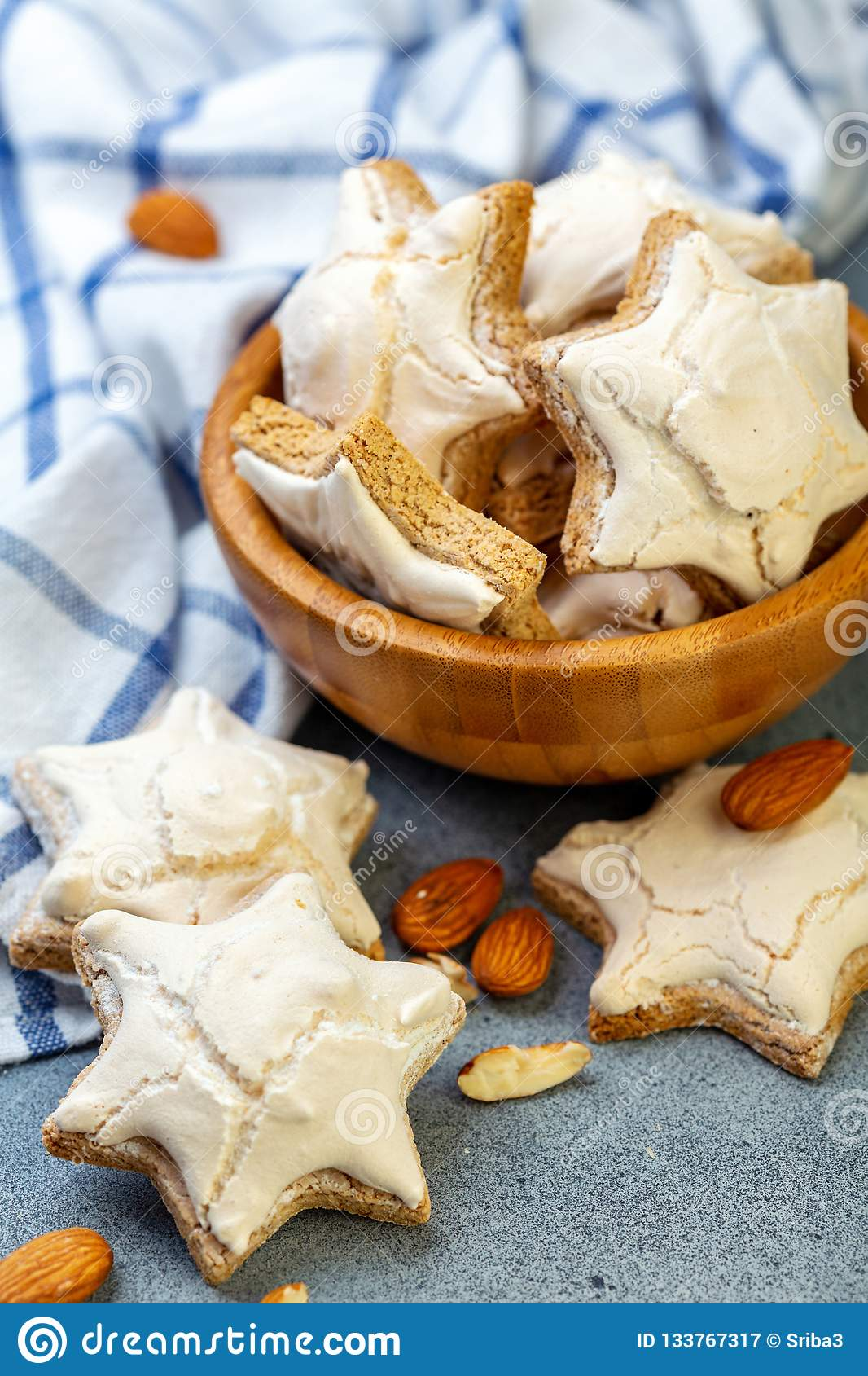 Christmas Almond Cinnamon Cookies In A Wooden Bowl Stock Image