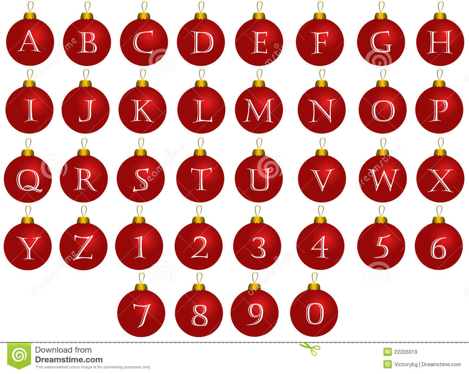 Christmas Alphabet Balls Royalty Free Stock Images