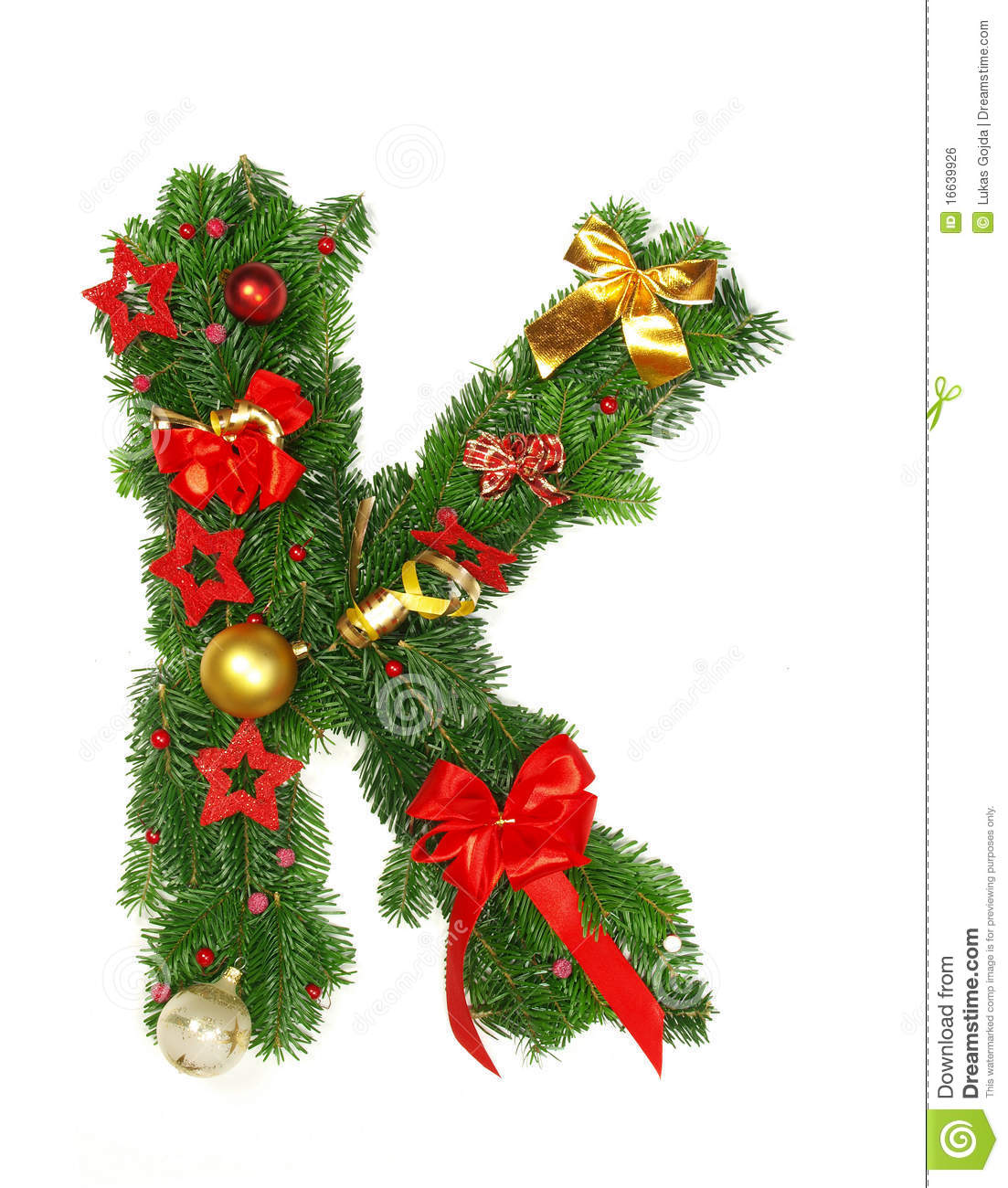 Christmas Alphabet Letter K Stock Photo