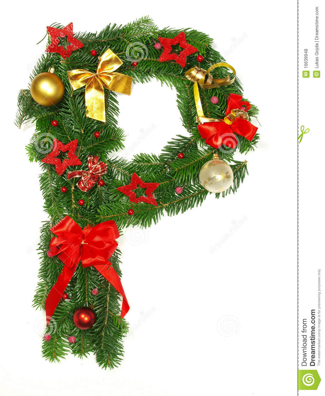 Christmas Alphabet Letter P Stock Photo