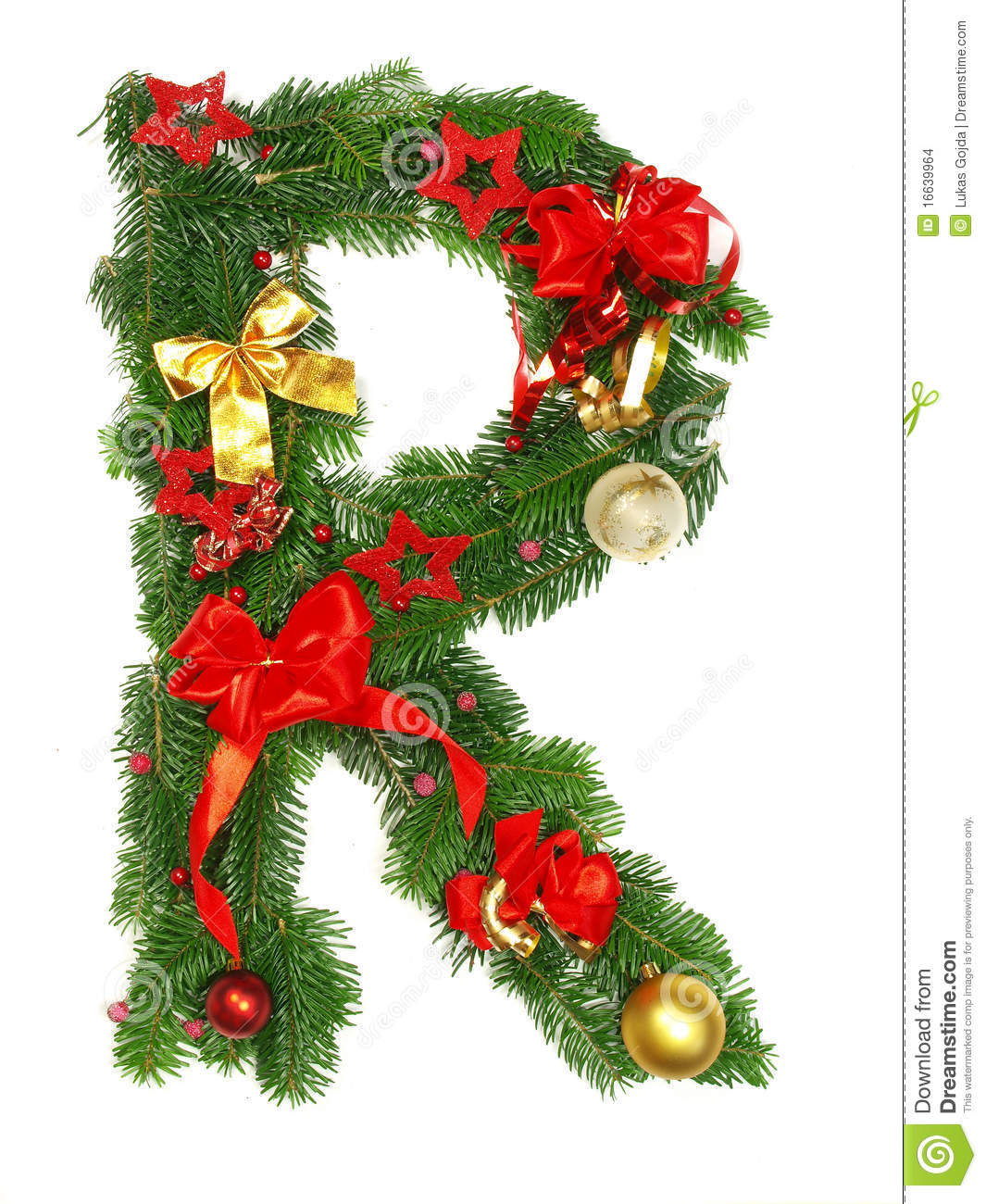christmas alphabet letter r stock photo