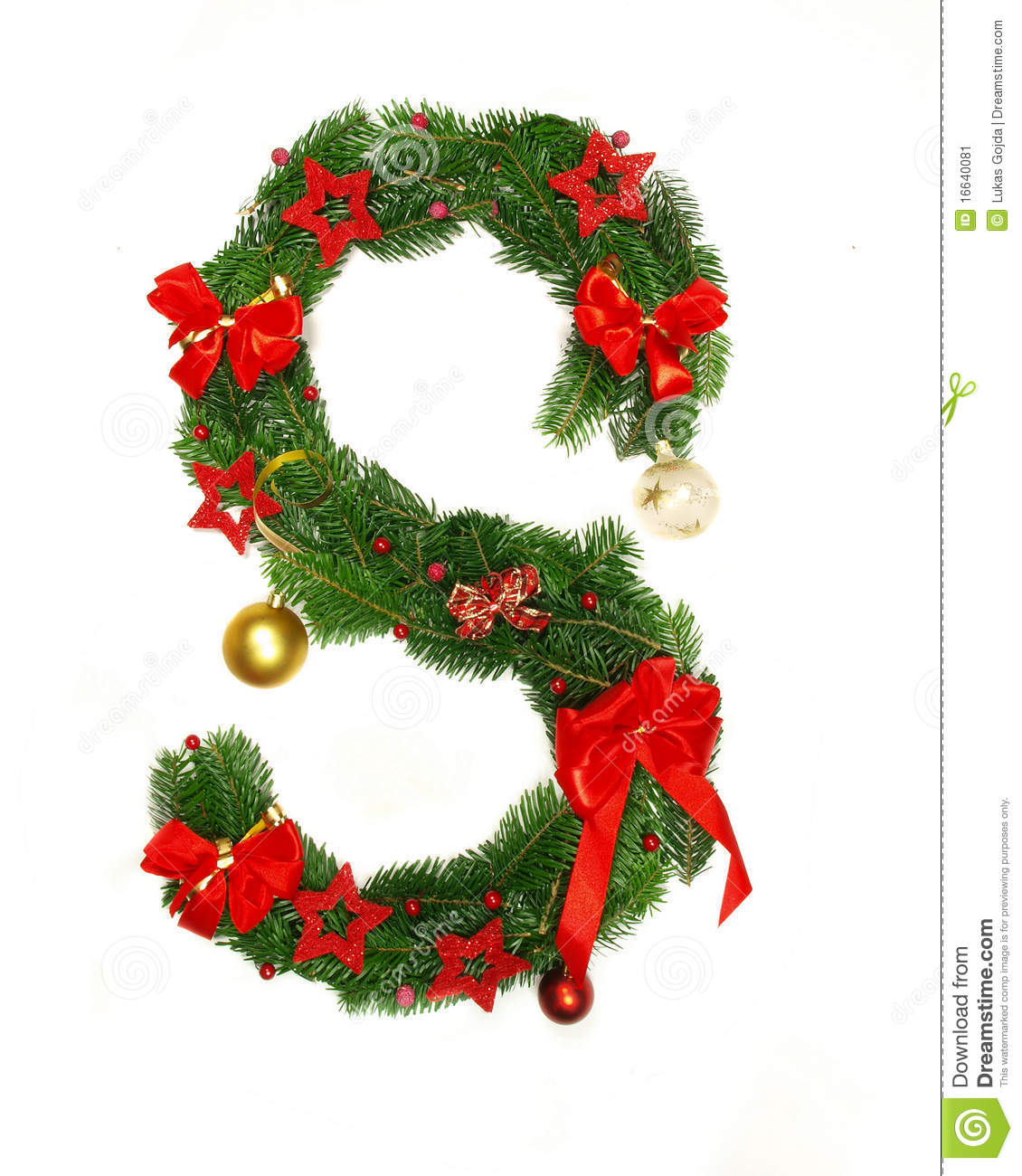 christmas alphabet letter s stock image image 16640081 Tree Branch Clip Art Victorian free tree branch clip art black and white