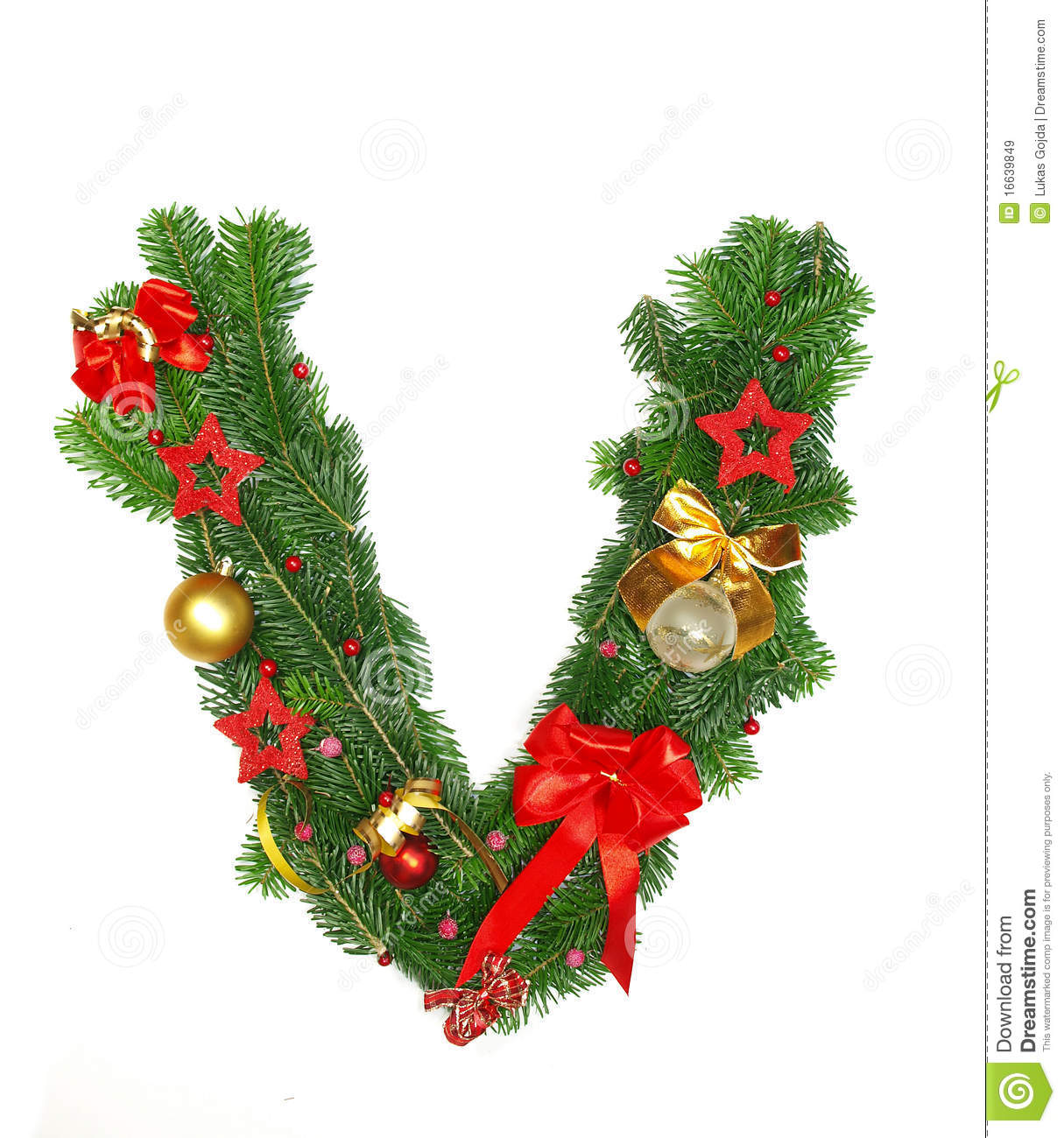 Christmas Alphabet Letter V Royalty Free Stock Images - Image ...