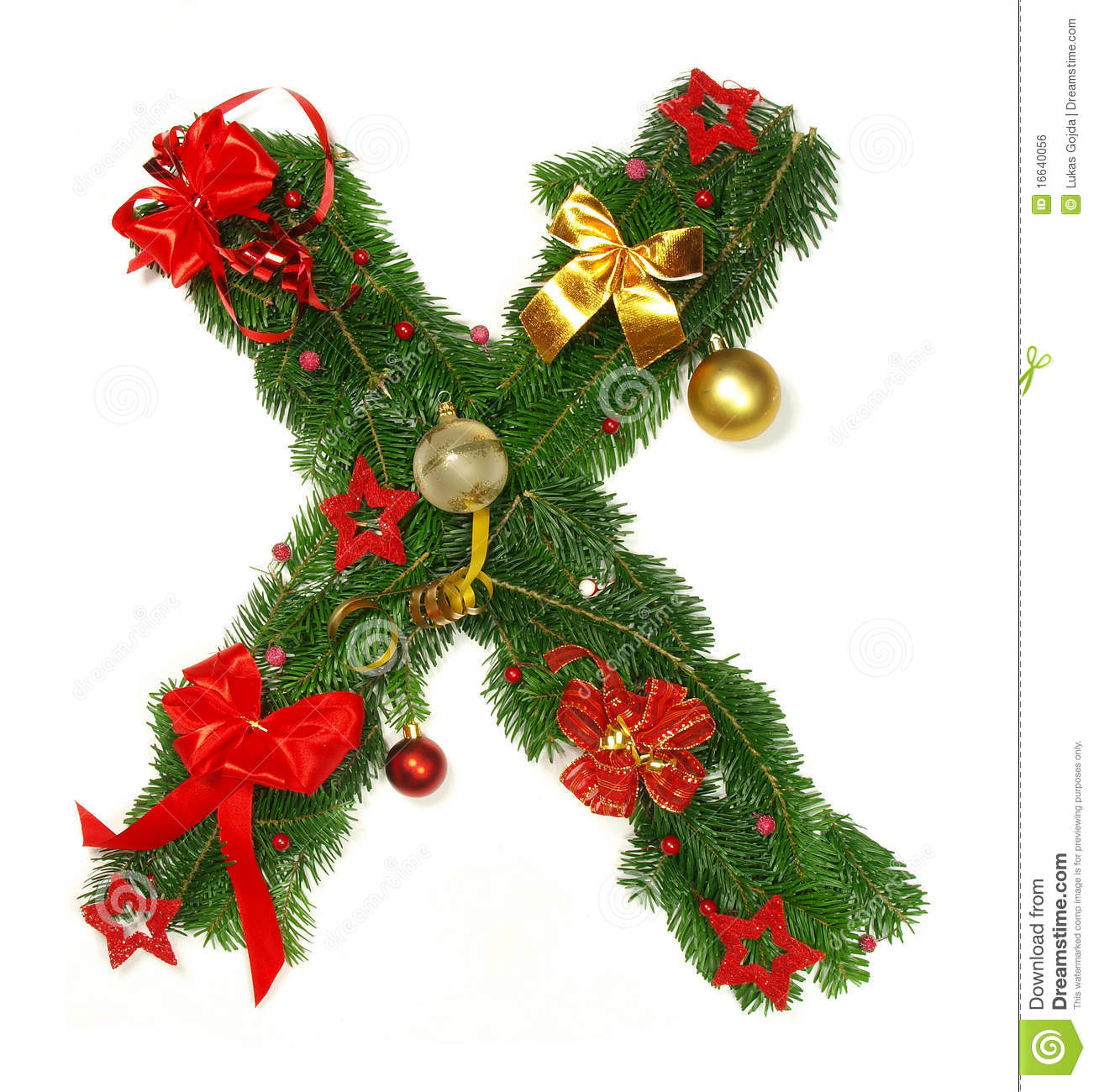 Christmas Alphabet Letter X Stock Photo