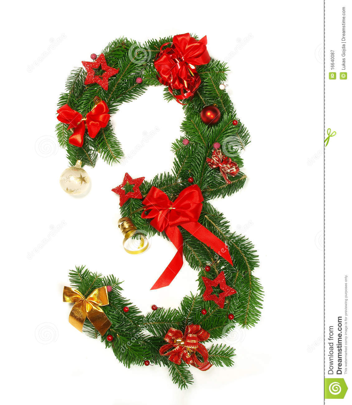 Christmas Alphabet Number 3 Royalty Free Stock Photography  Image