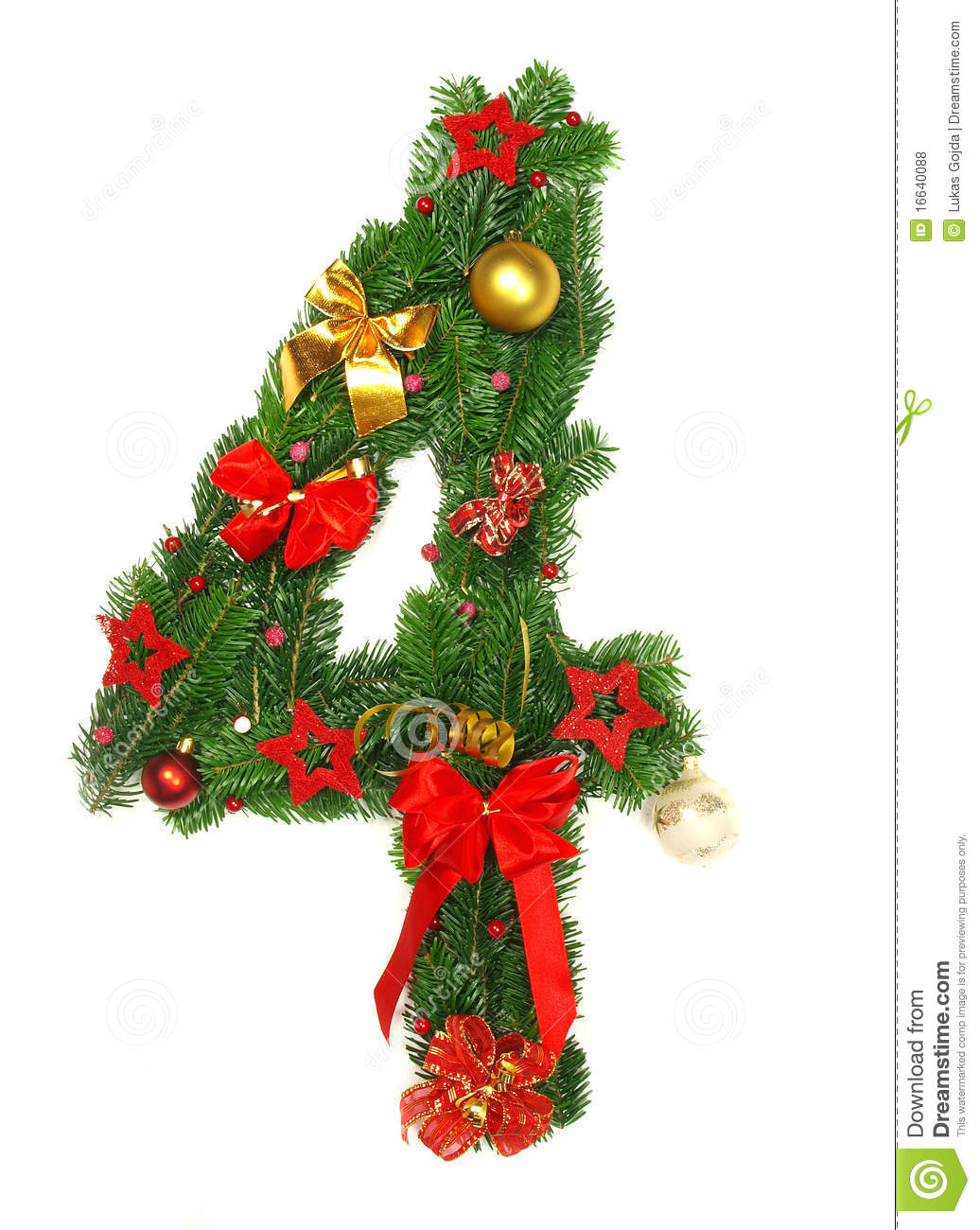 Christmas Alphabet Number 4 Stock Photo
