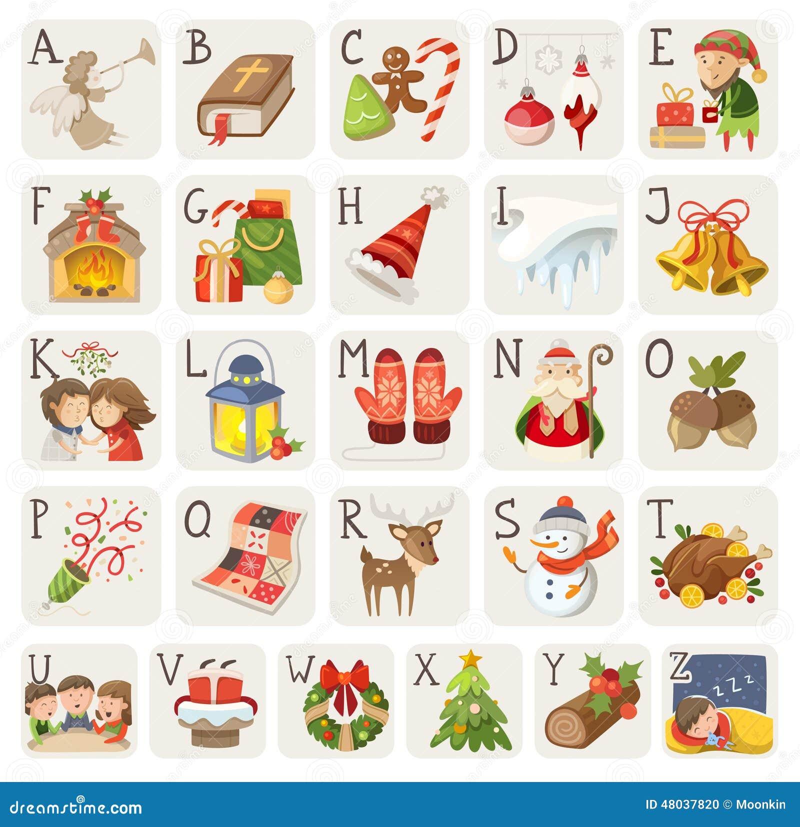 Christmas alphabet stock vector illustration of icons - Alphabet noel ...