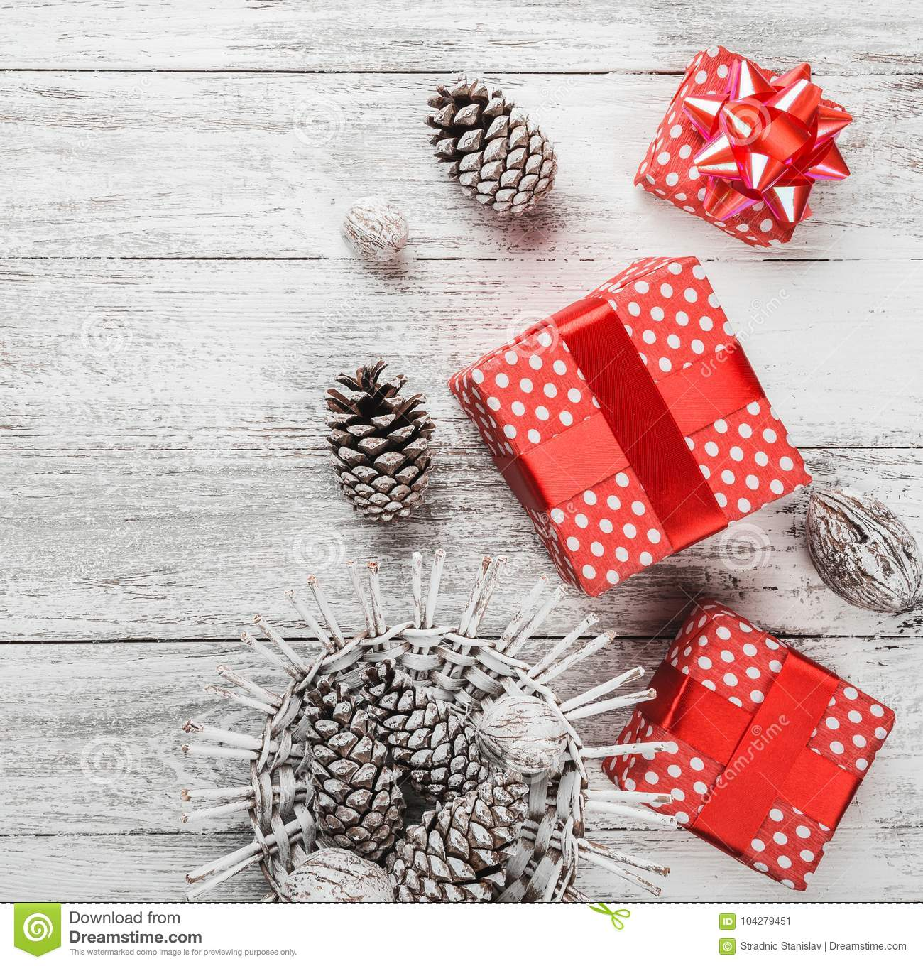 Christmas Ambiance On The Kitchen Table, Decorative Fir Gifts And ...