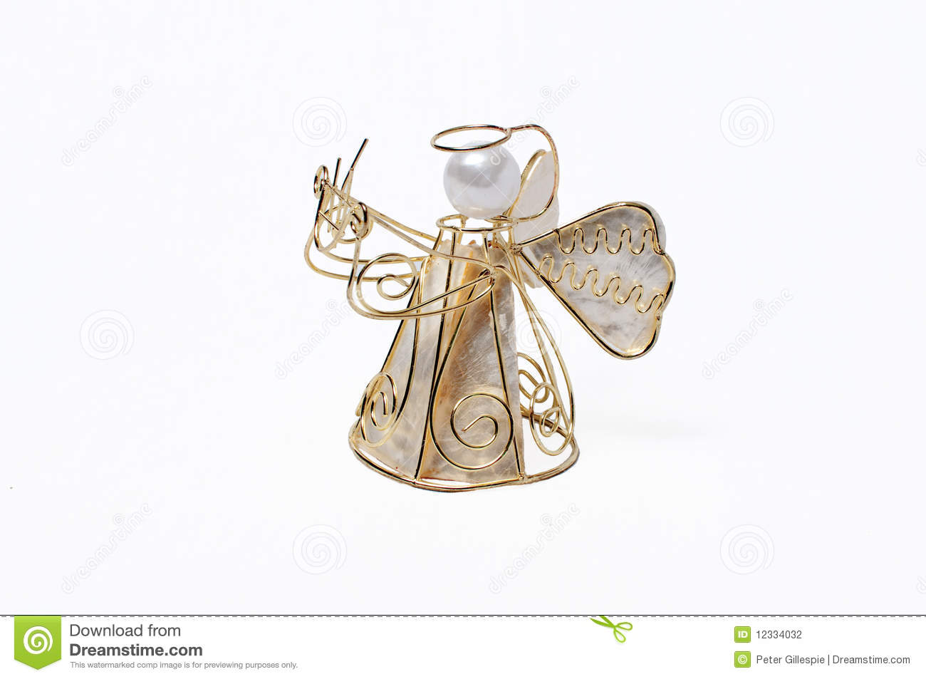 a christmas angel made of gold wire on a white background - A Christmas Angel